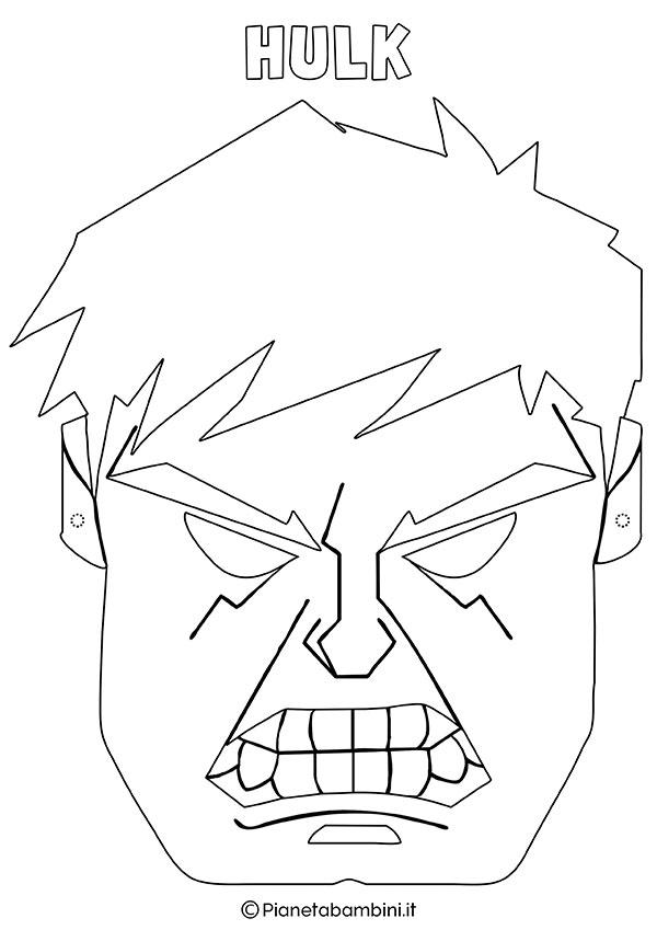 Maschera di Hulk da colorare e stampare gratis per bambini