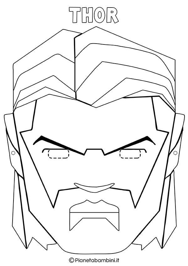 Maschera di Thor da colorare e stampare gratis per bambini
