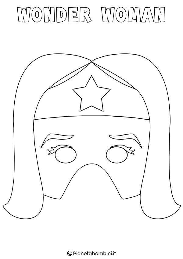 Maschera di Wonder Woman da colorare e stampare gratis per bambini