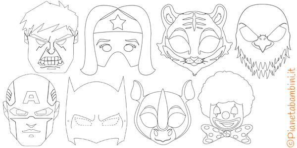 Maschere di Carnevale da colorare e ritagliare