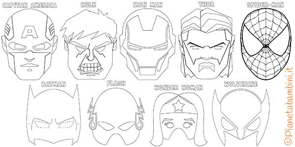 Maschere di supereroi da colorare per bambini for Disegni spiderman da colorare gratis