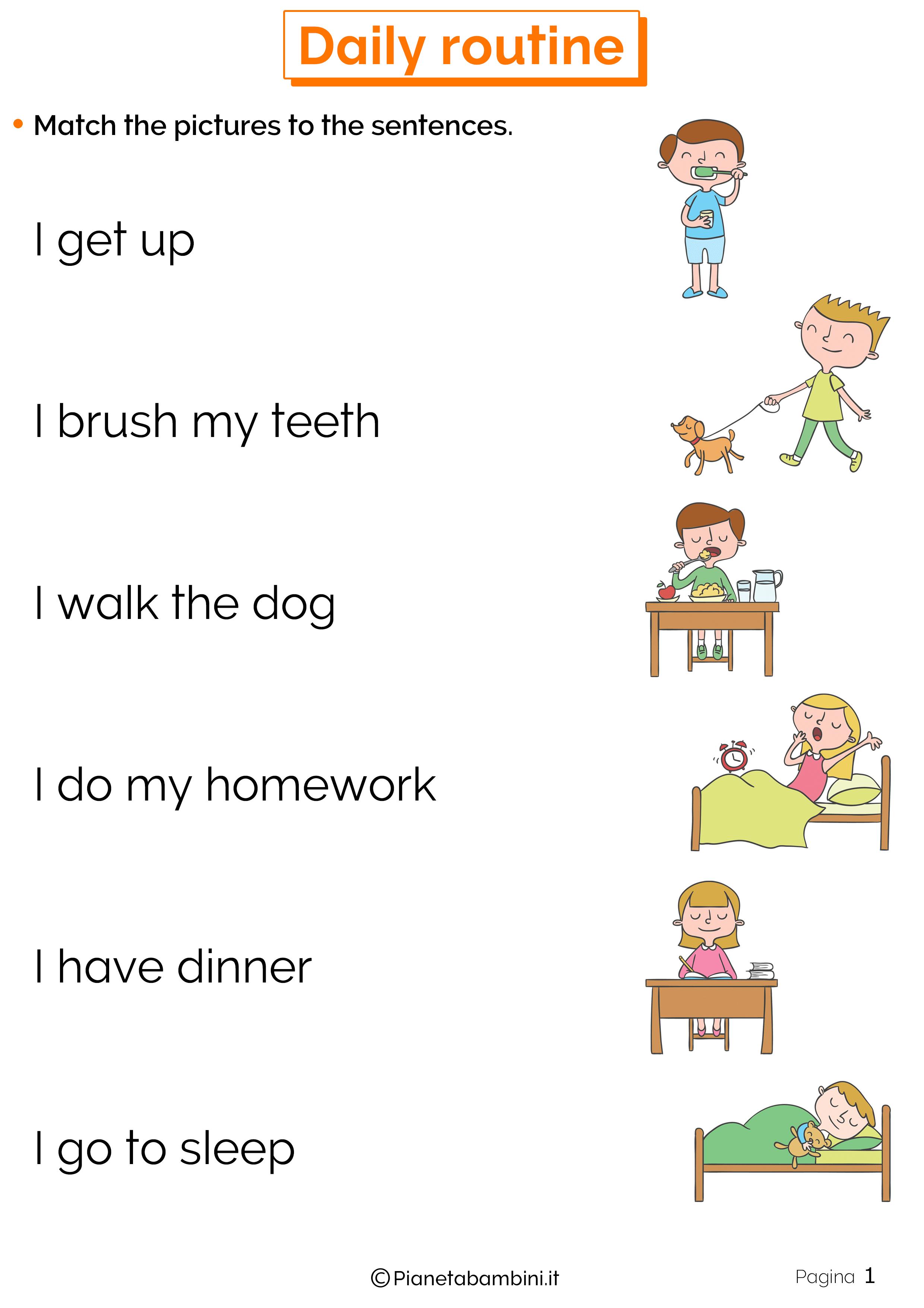 Esercizi sulle azioni quotidiane in inglese 1