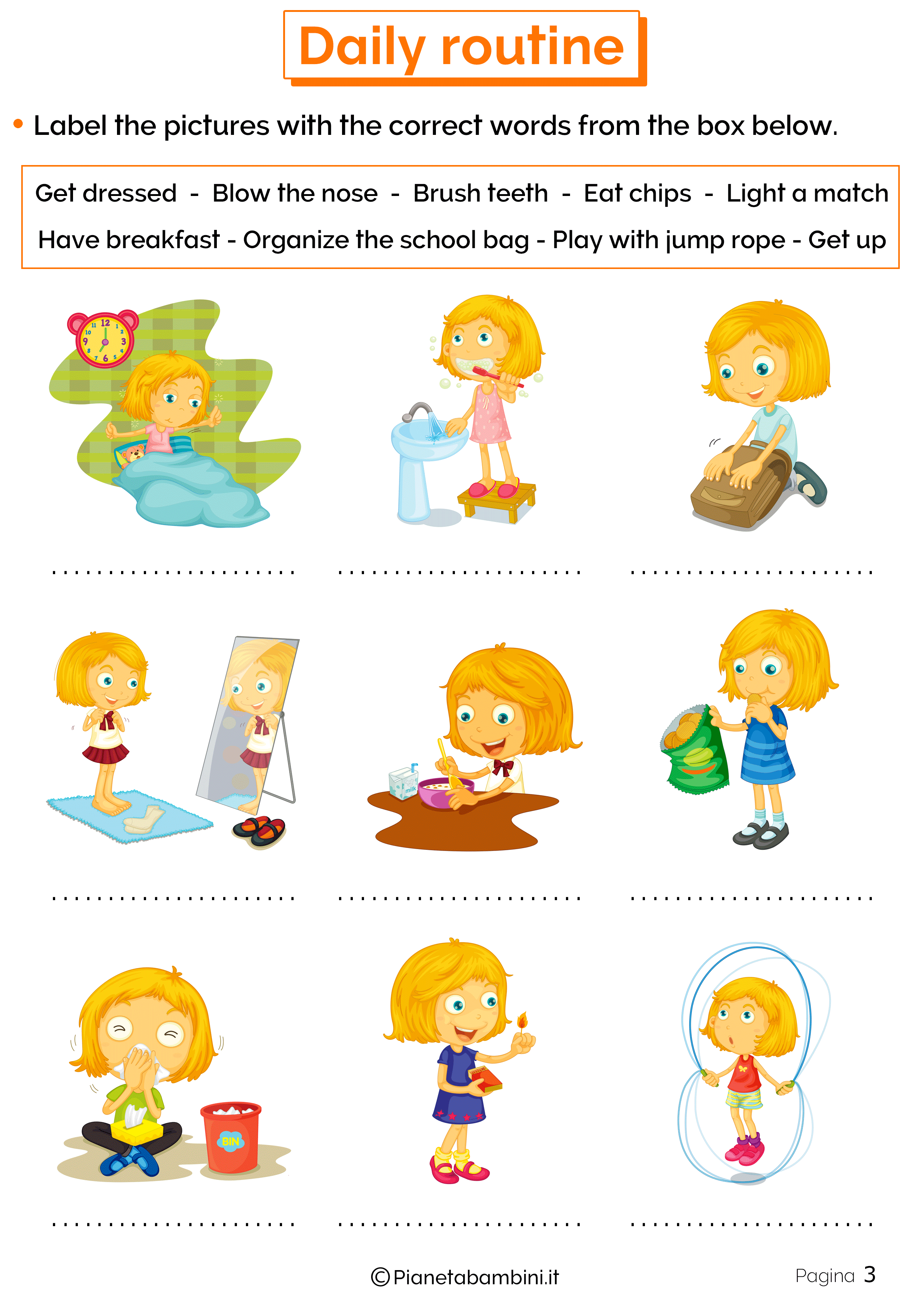 Esercizi sulle azioni quotidiane in inglese 3