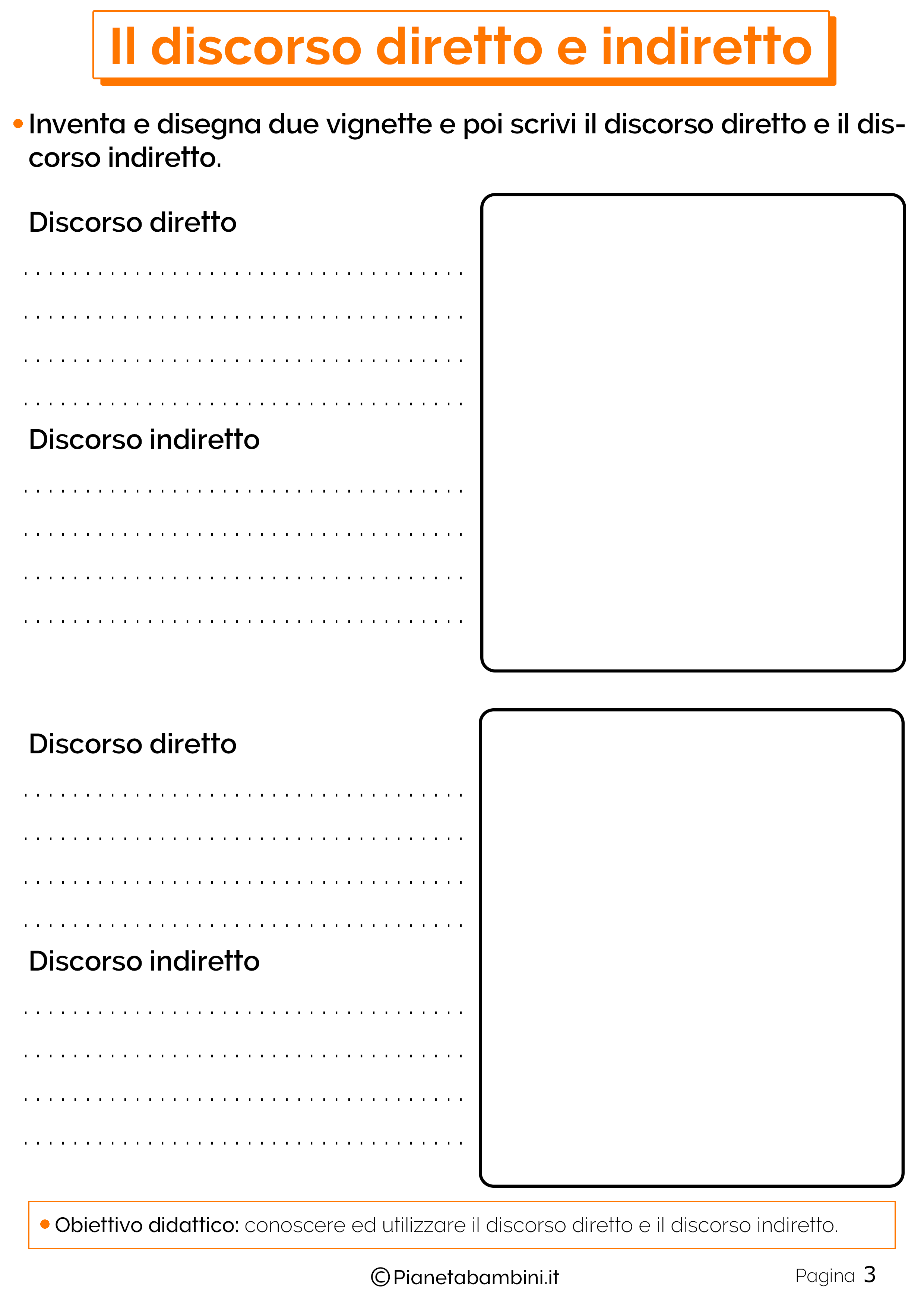 Esercizi sul discorso diretto e indiretto 3