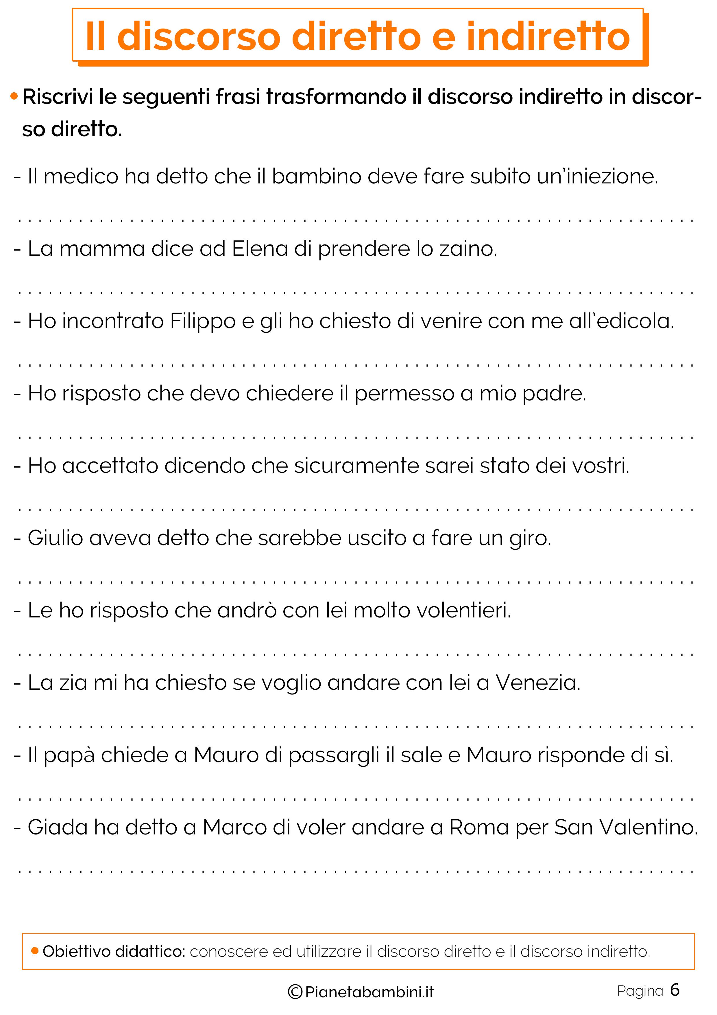 Esercizi sul discorso diretto e indiretto 6