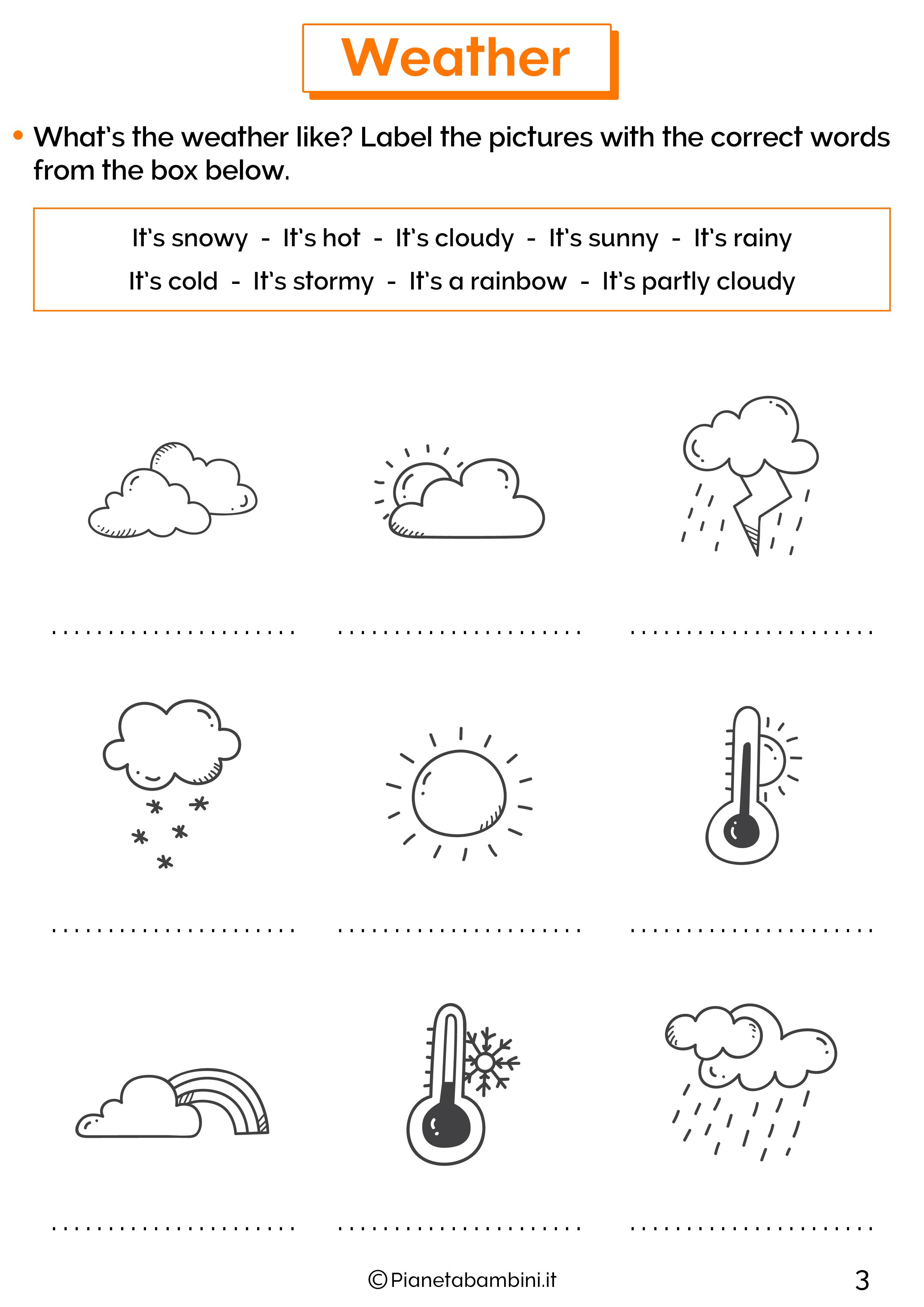 Esercizio sul tempo atmosferico in inglese 2