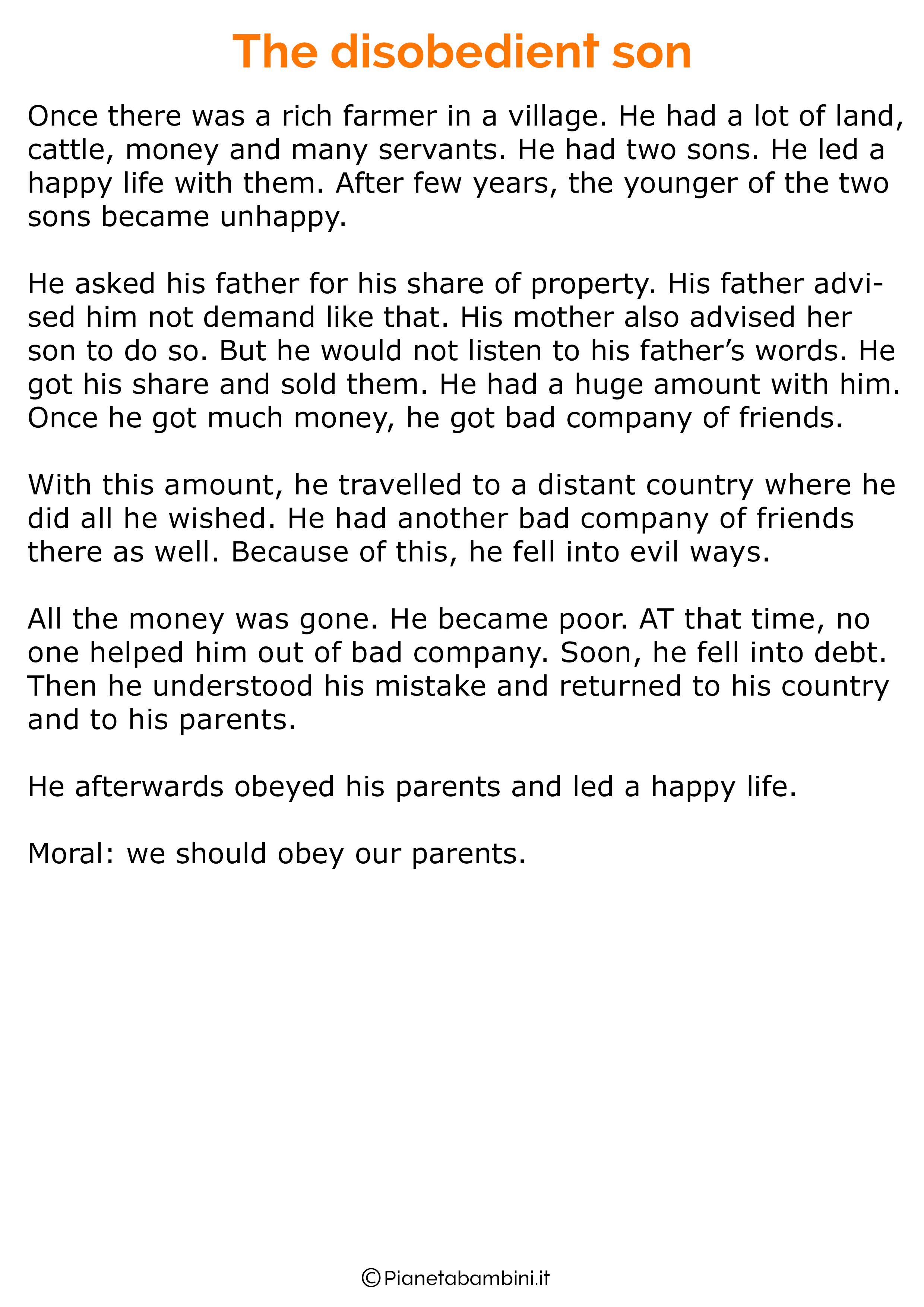Racconto in inglese con la morale 12