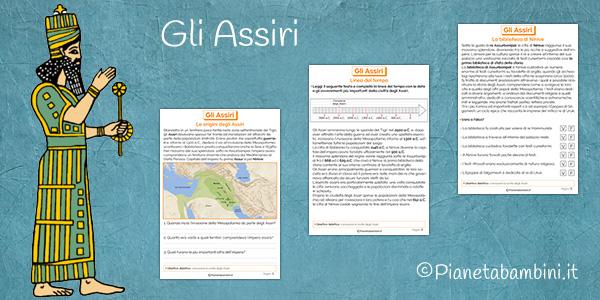 Schede didattiche sugli Assiri per la scuola primaria da stampare gratis
