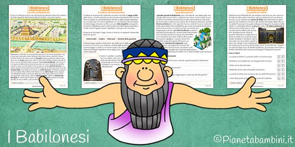 Esercizi di verifica sui Babilonesi per la scuola primaria da stampare gratis