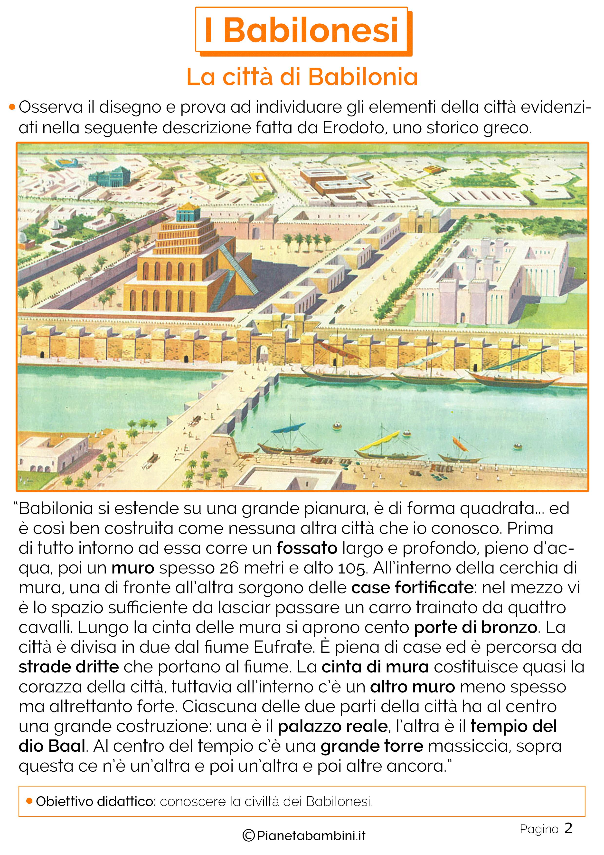 Schede didattiche sulla città di Babilonia