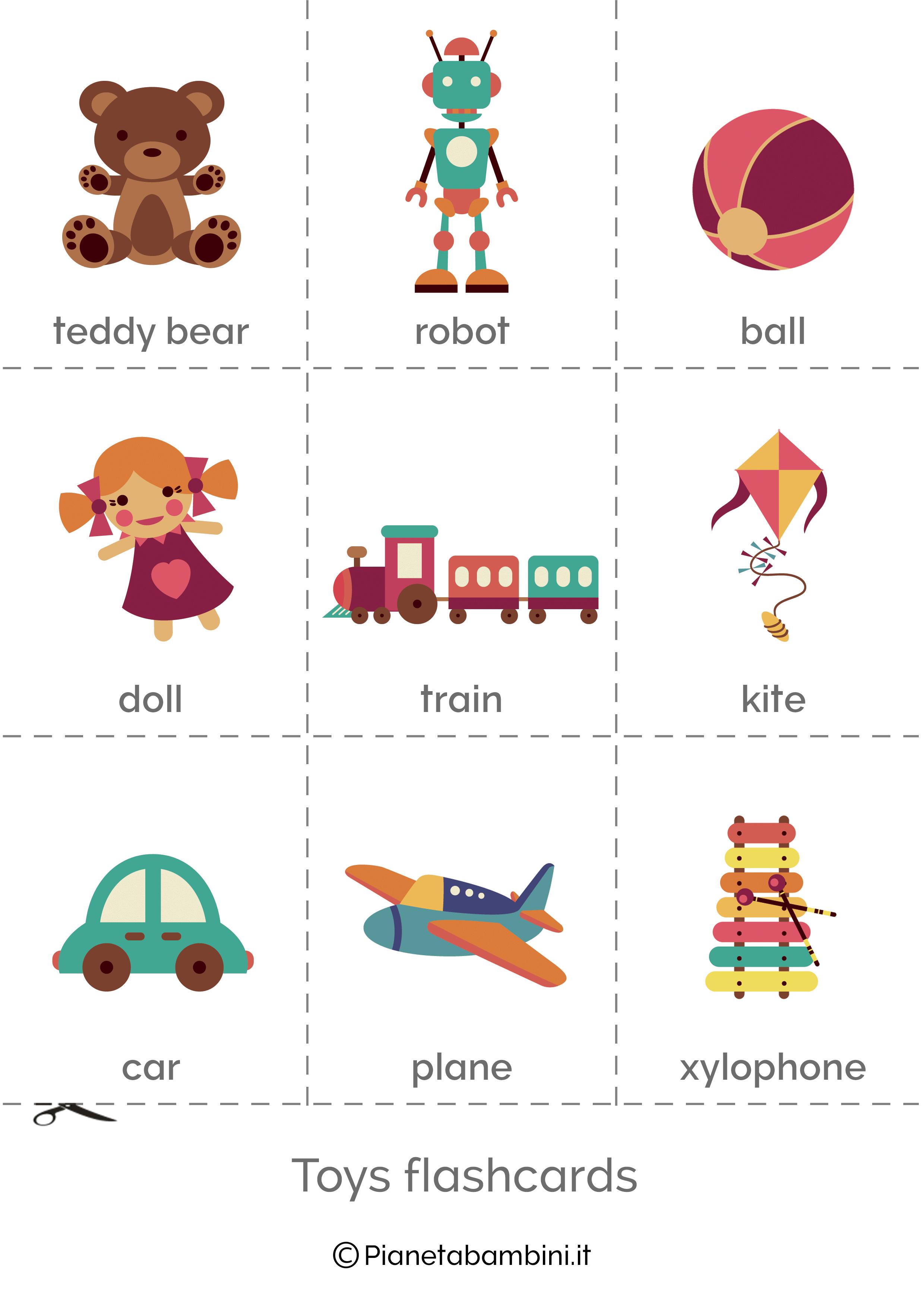 Flashcard Giocattoli Inglese per bambini 1