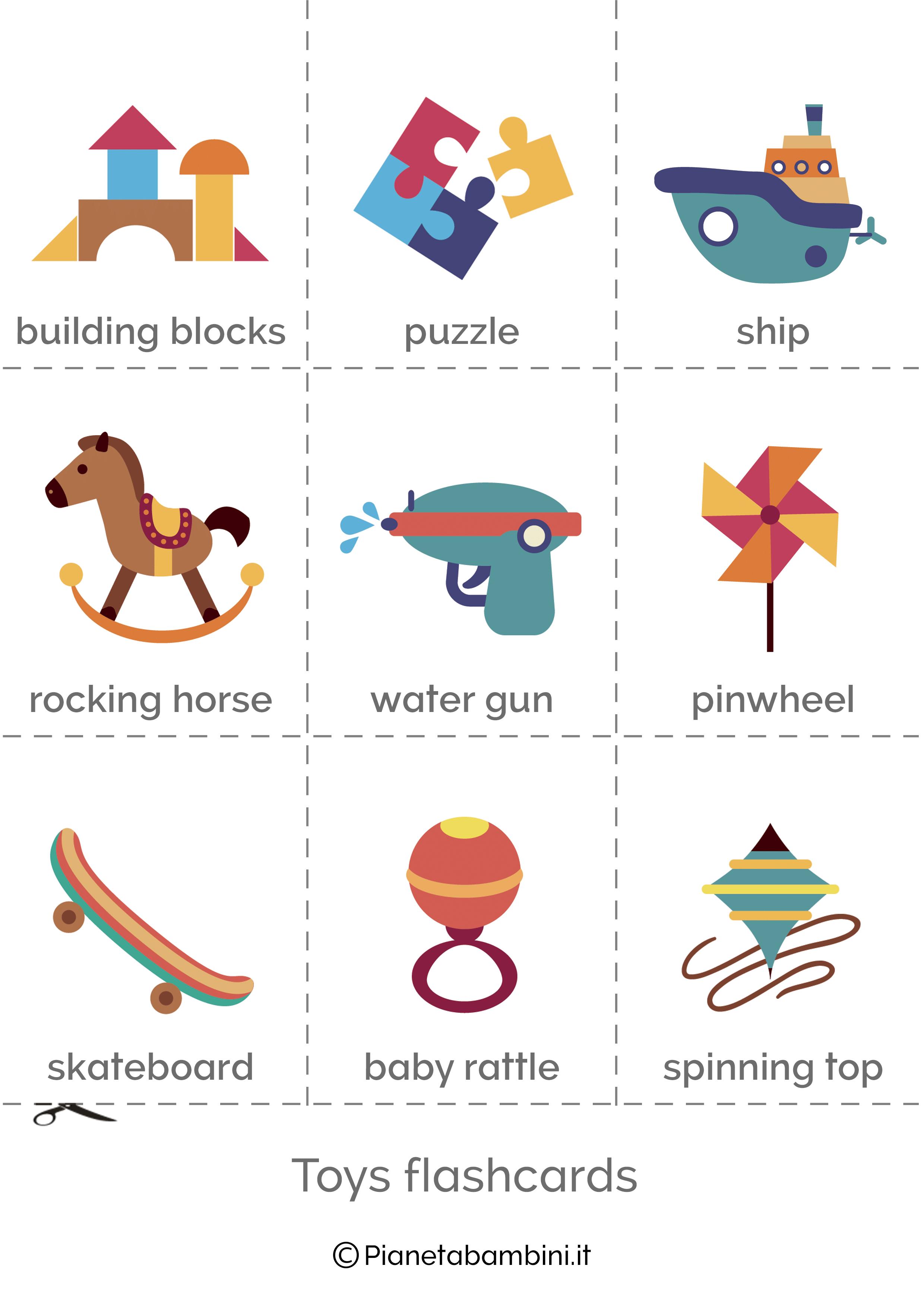 Flashcard Giocattoli Inglese per bambini 2