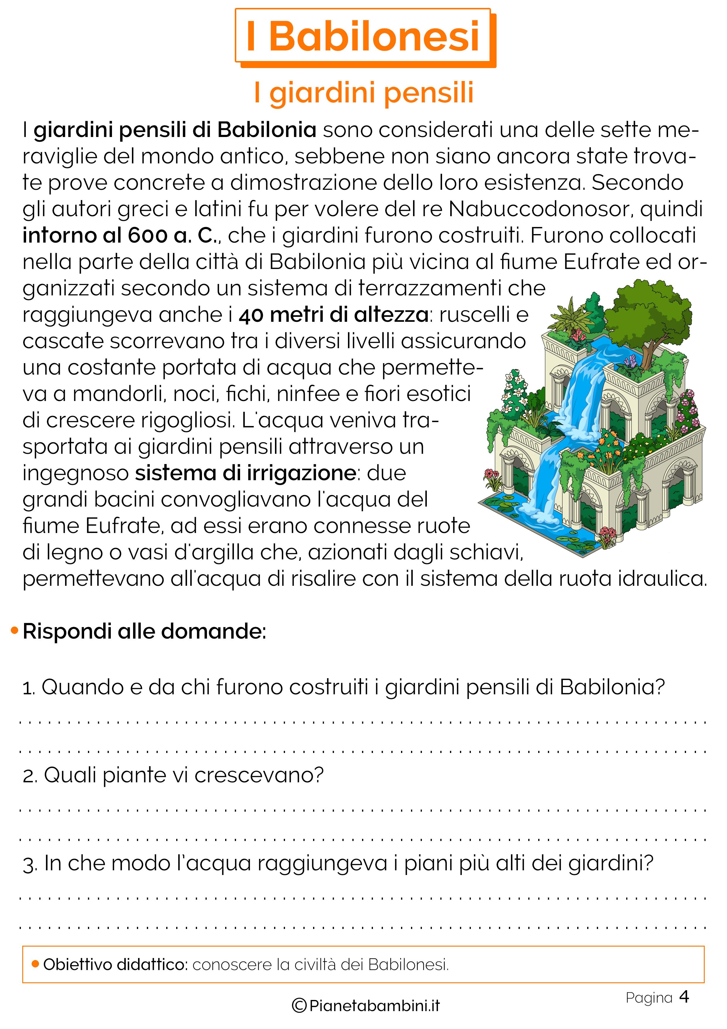 Schede didattiche sui giardini pensili di Babilonia