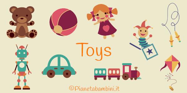 Schede didattiche e flashcard sui giocattoli in inglese per la scuola primaria