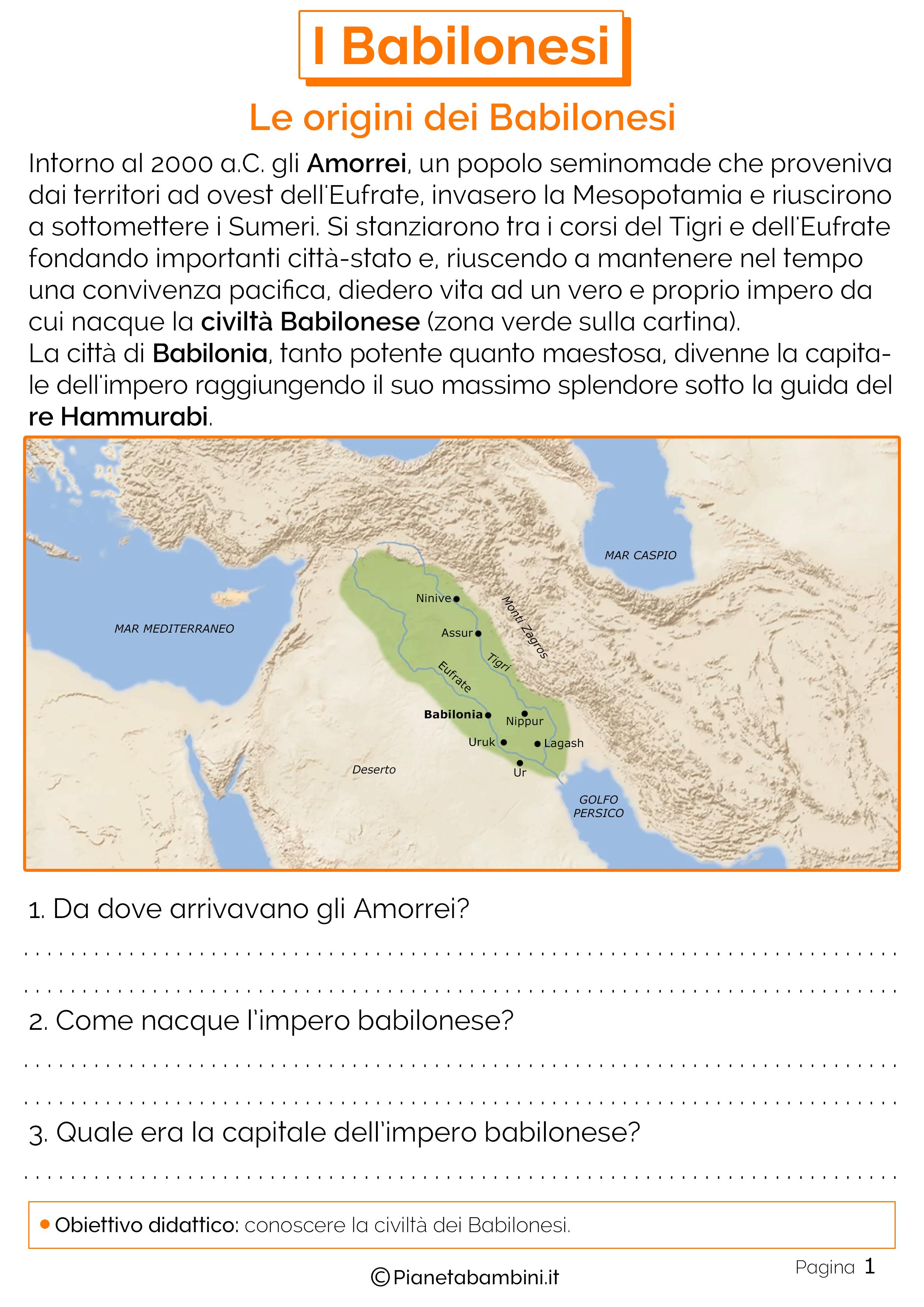 Schede didattiche sulle origini dei Babilonesi