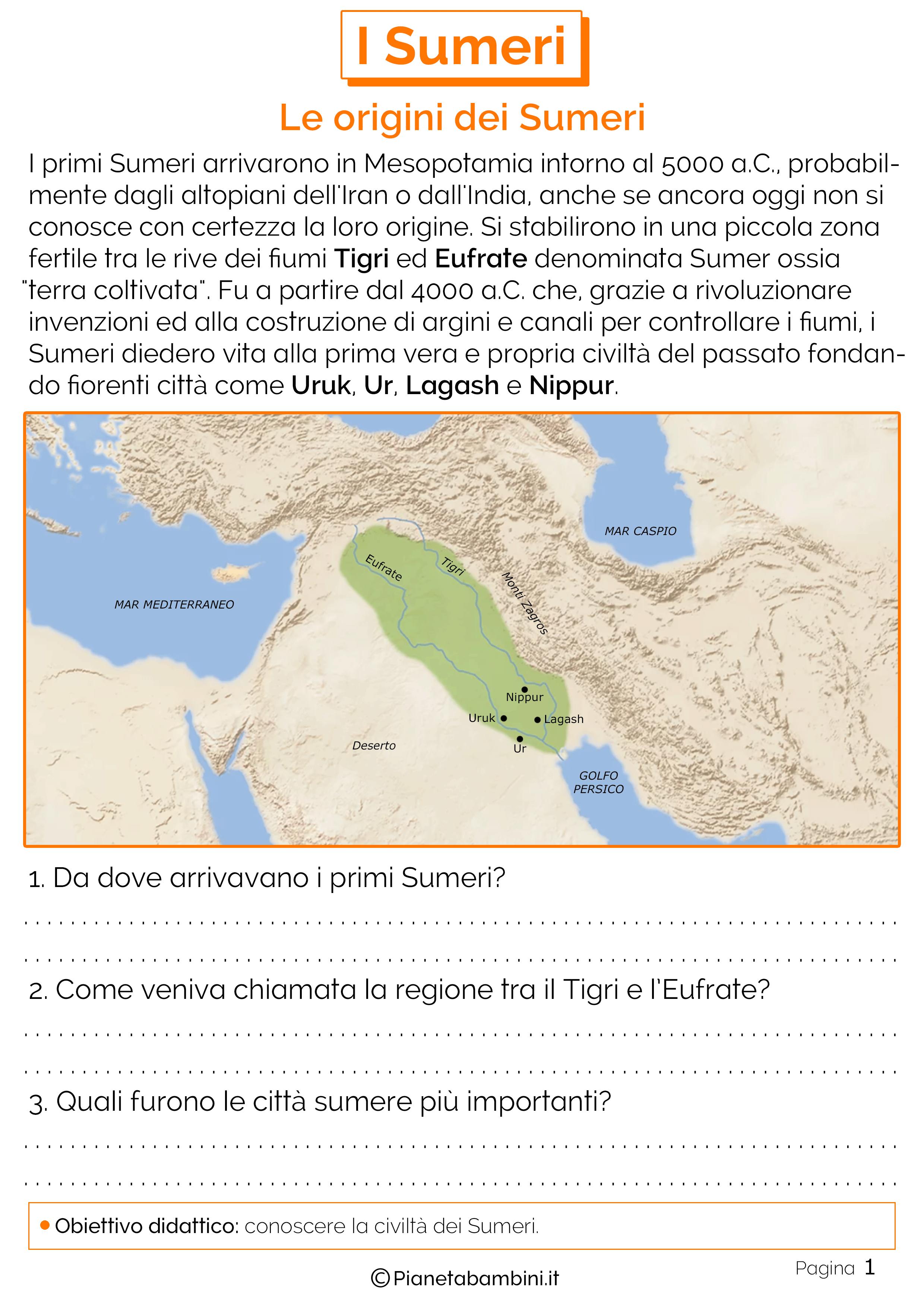 Schede didattiche sulle origini dei sumeri