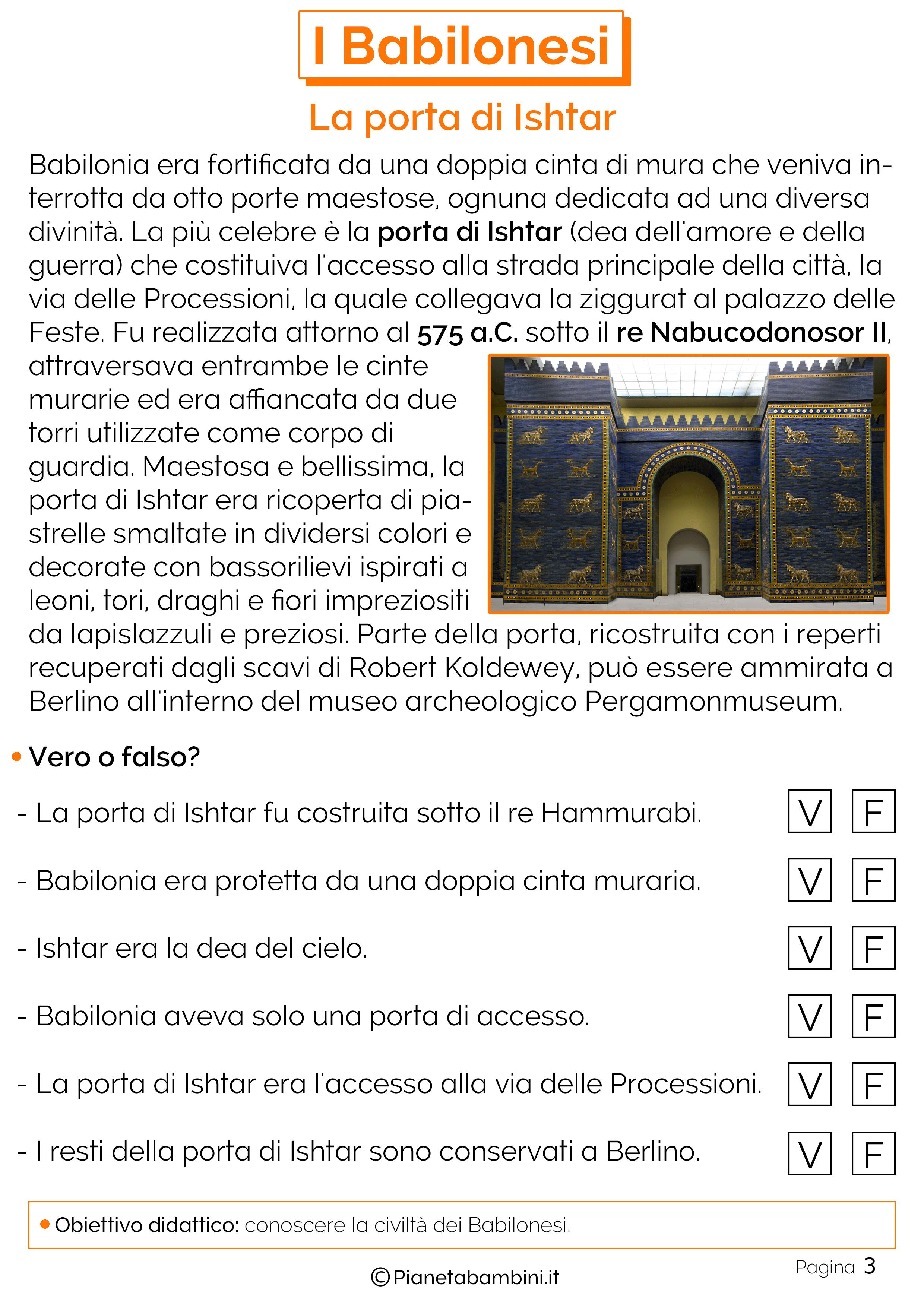 Schede didattiche sulla porta di Ishtar
