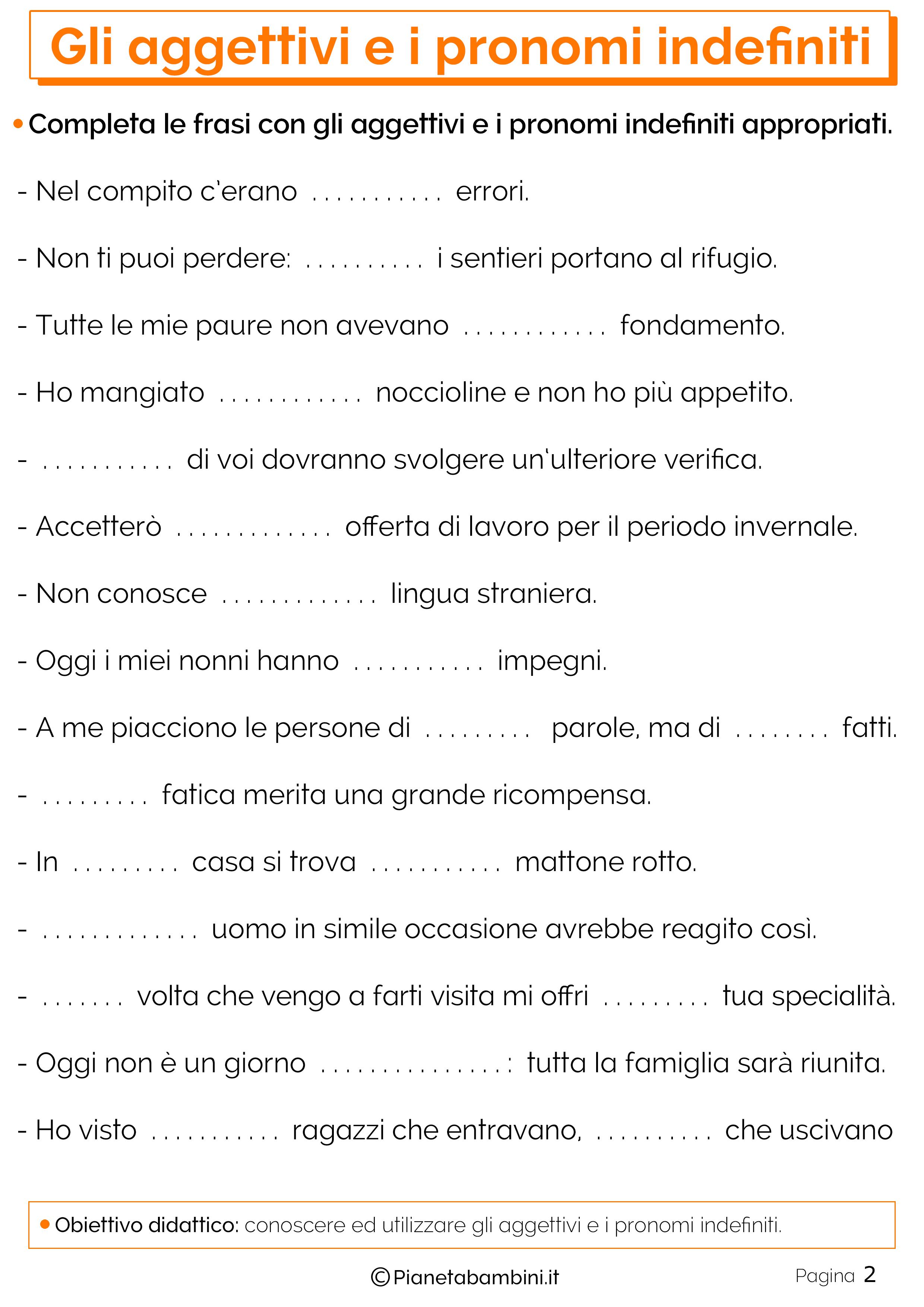 Esercizi sugli aggettivi e i pronomi indefiniti 2
