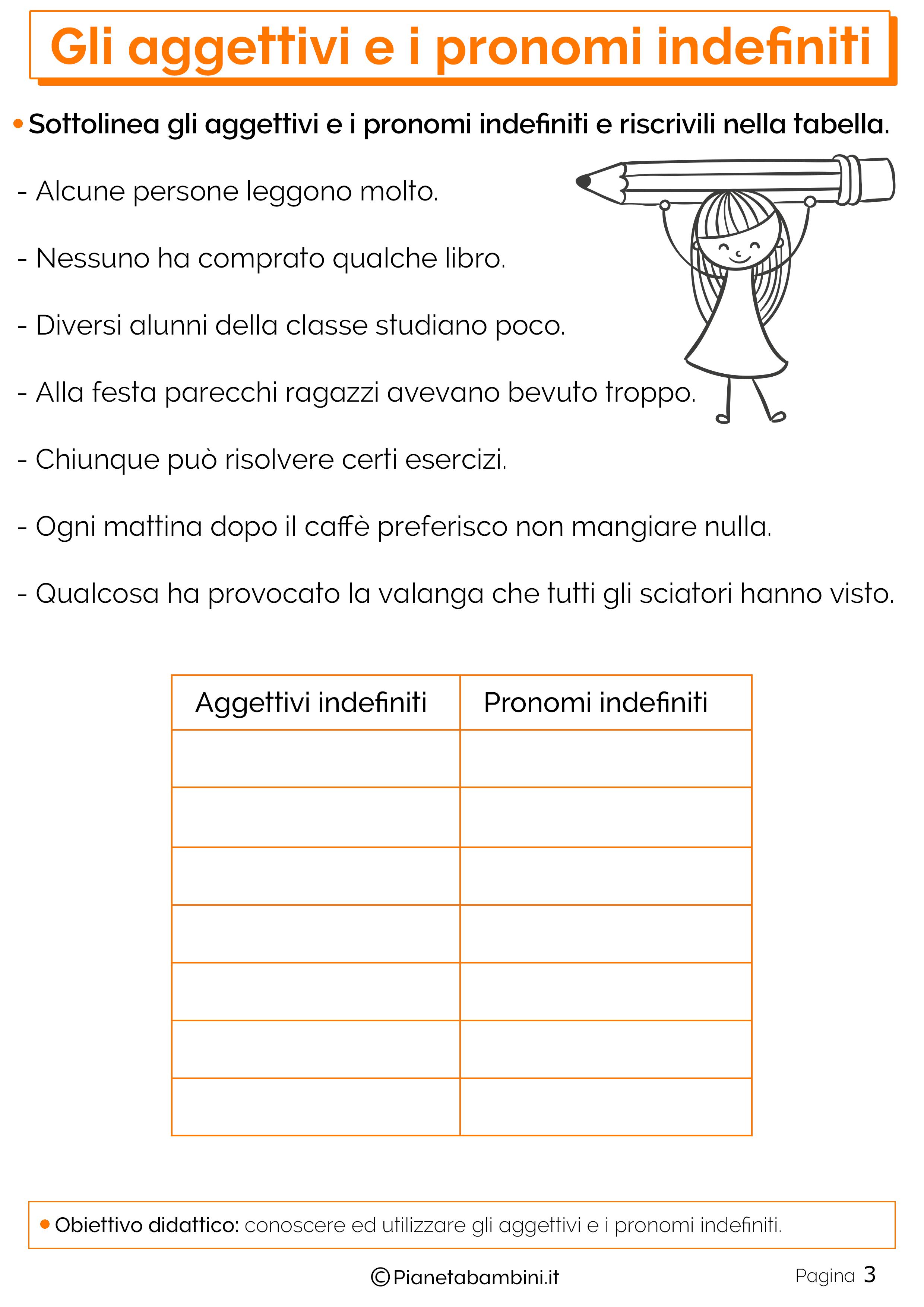 Esercizi sugli aggettivi e i pronomi indefiniti 3