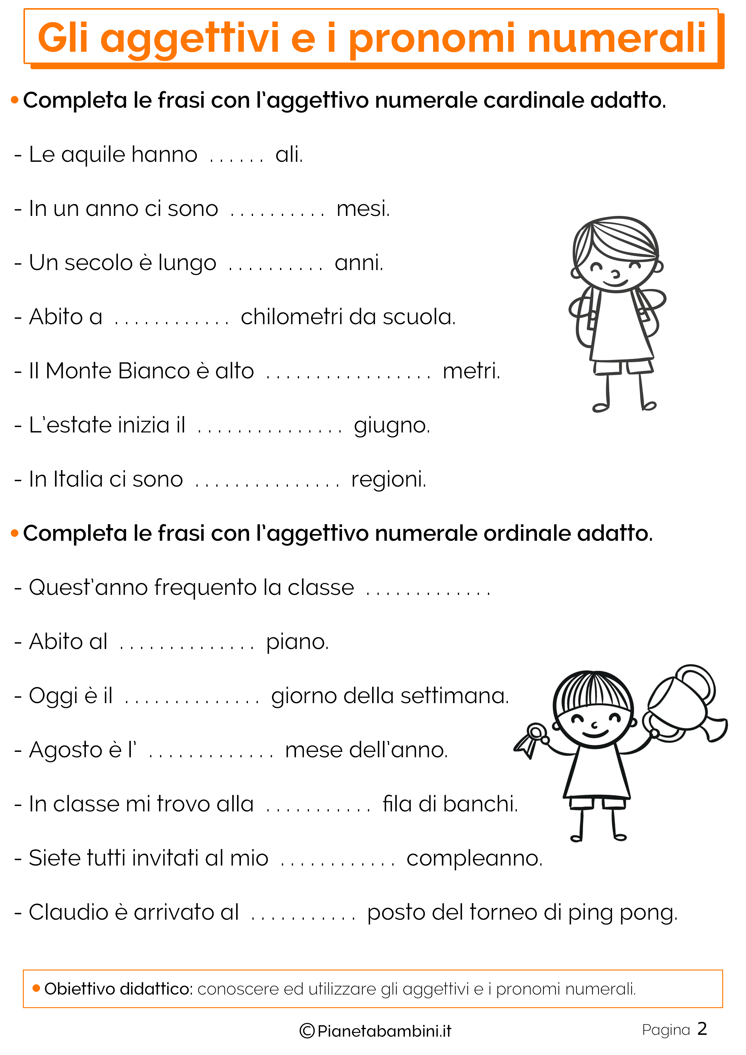 Esercizi sugli aggettivi e pronomi numerali 2