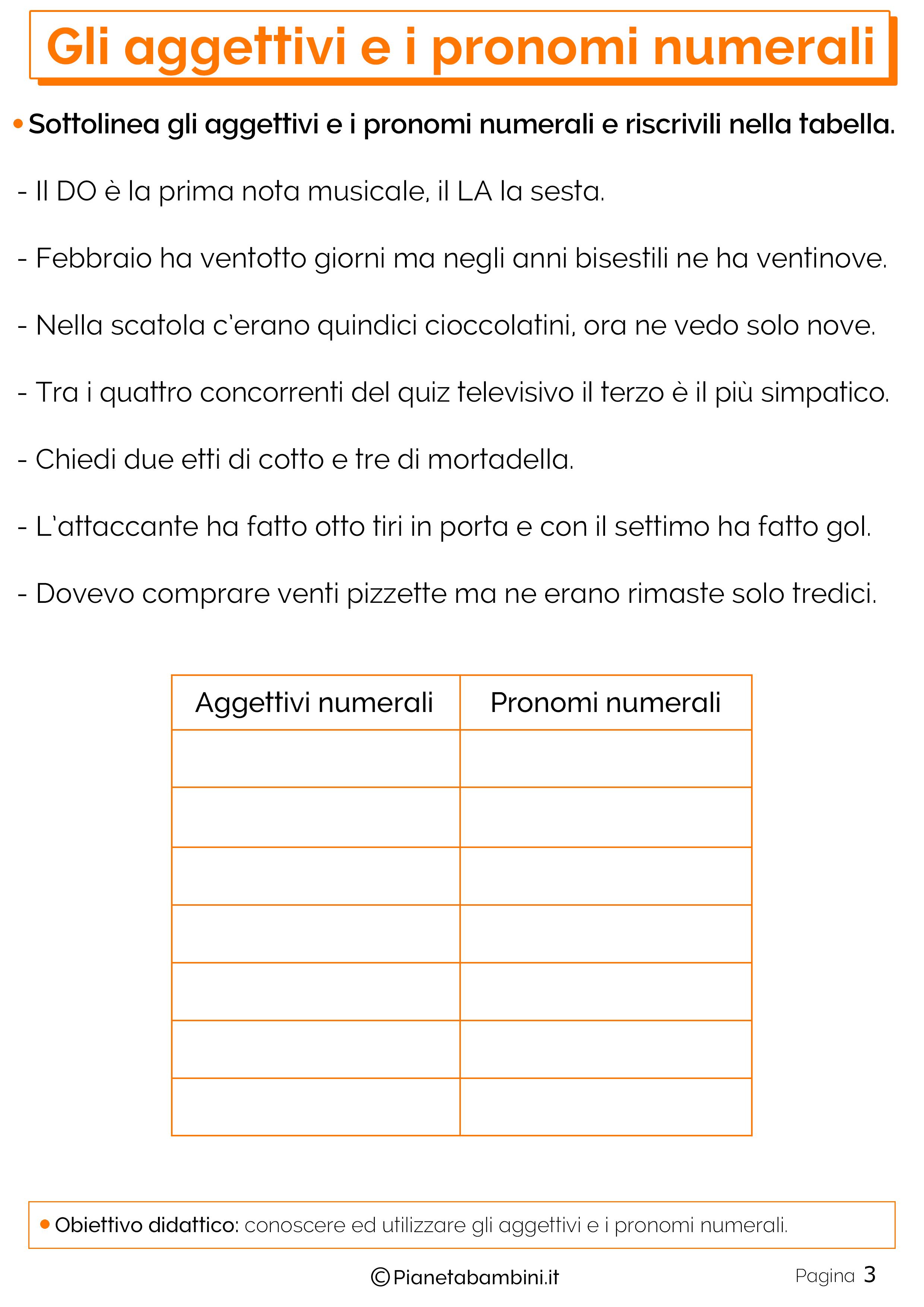 Esercizi sugli aggettivi e pronomi numerali 3