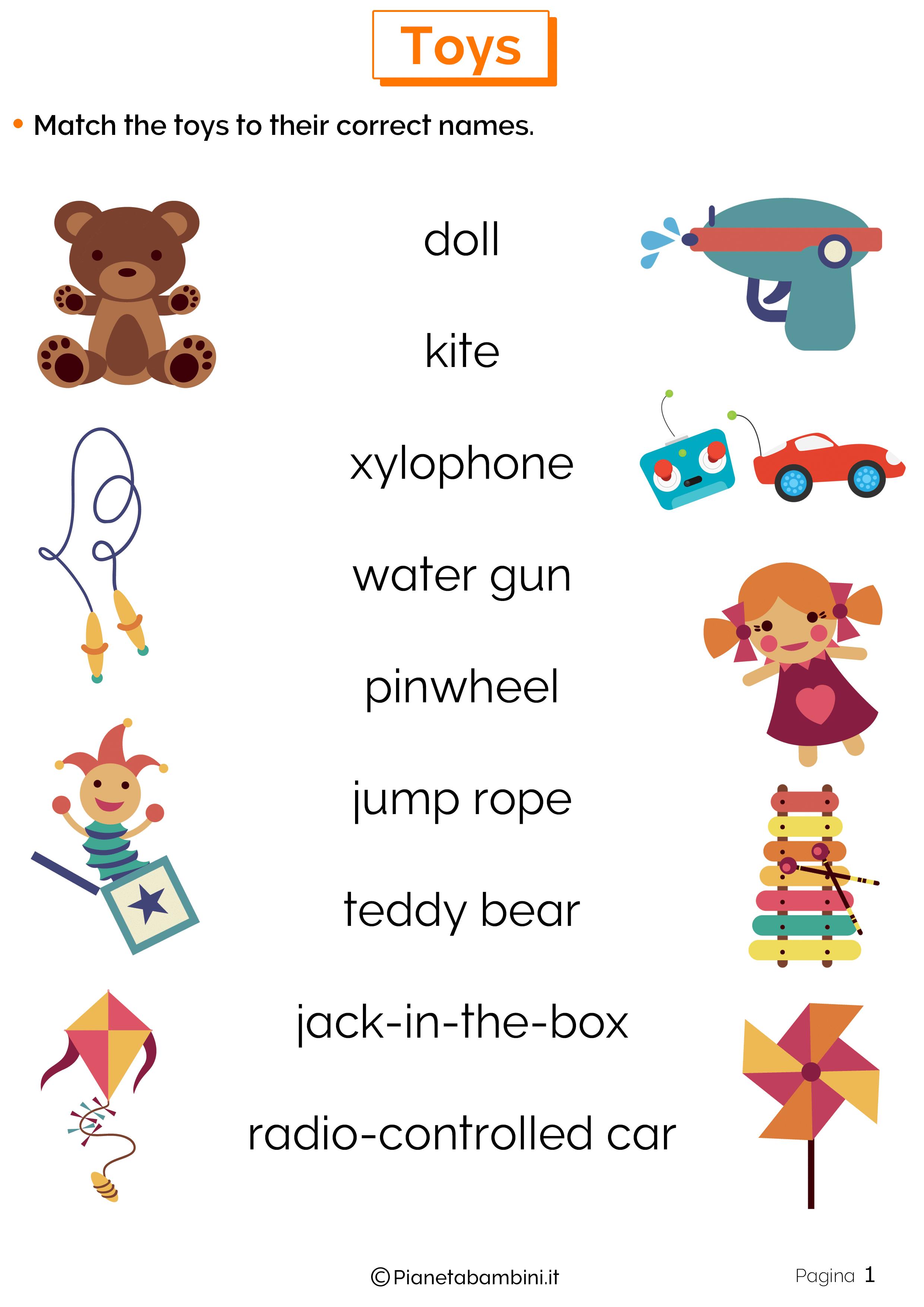 Esercizi sui Giocattoli in Inglese 1