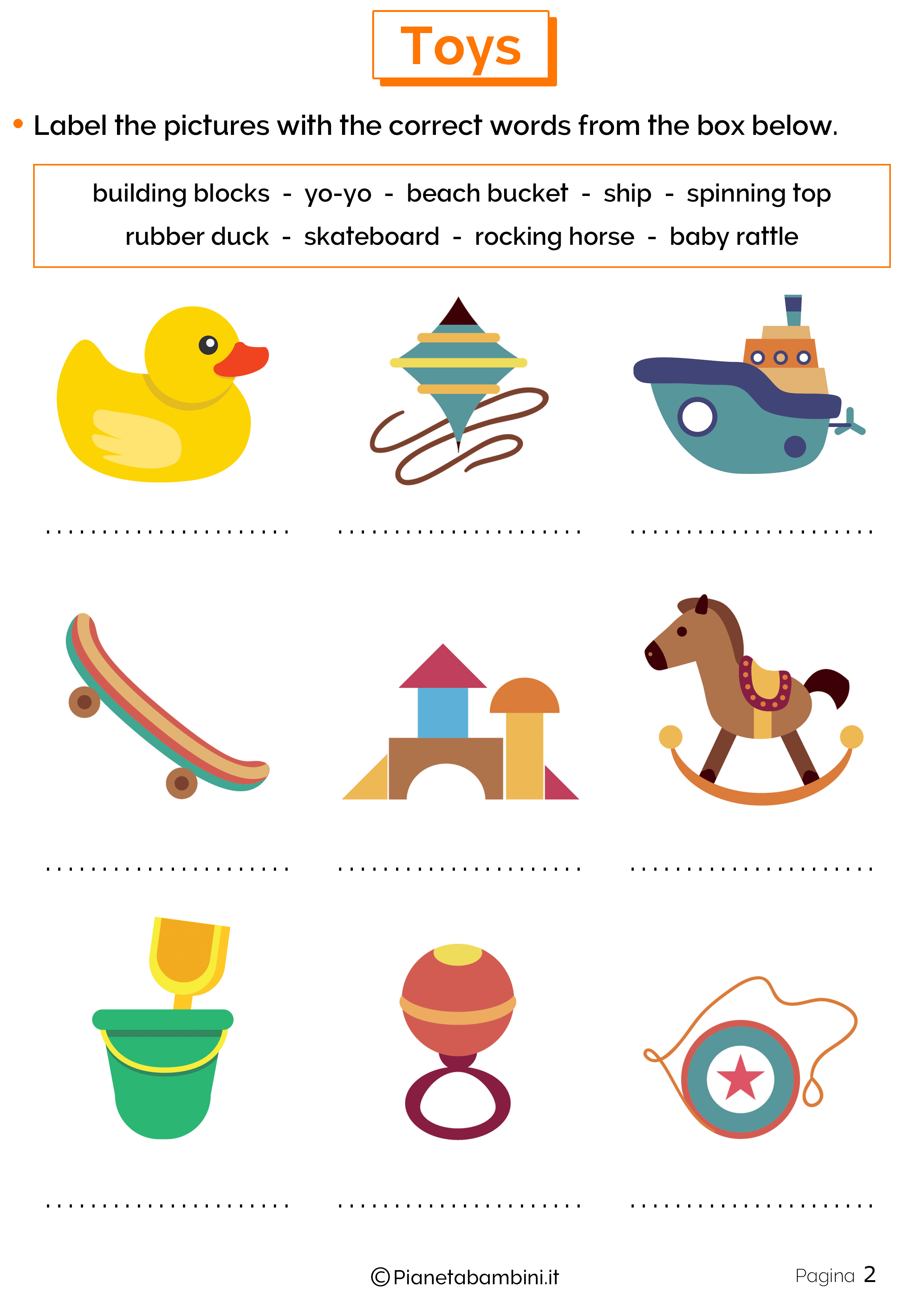 Esercizi sui Giocattoli in Inglese 2