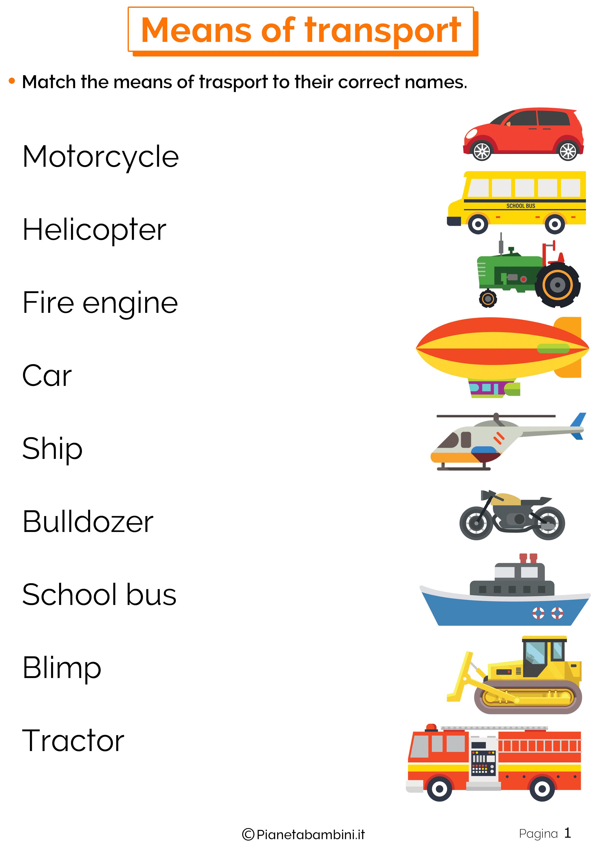 Esercizi sui mezzi di trasporto inglese 1