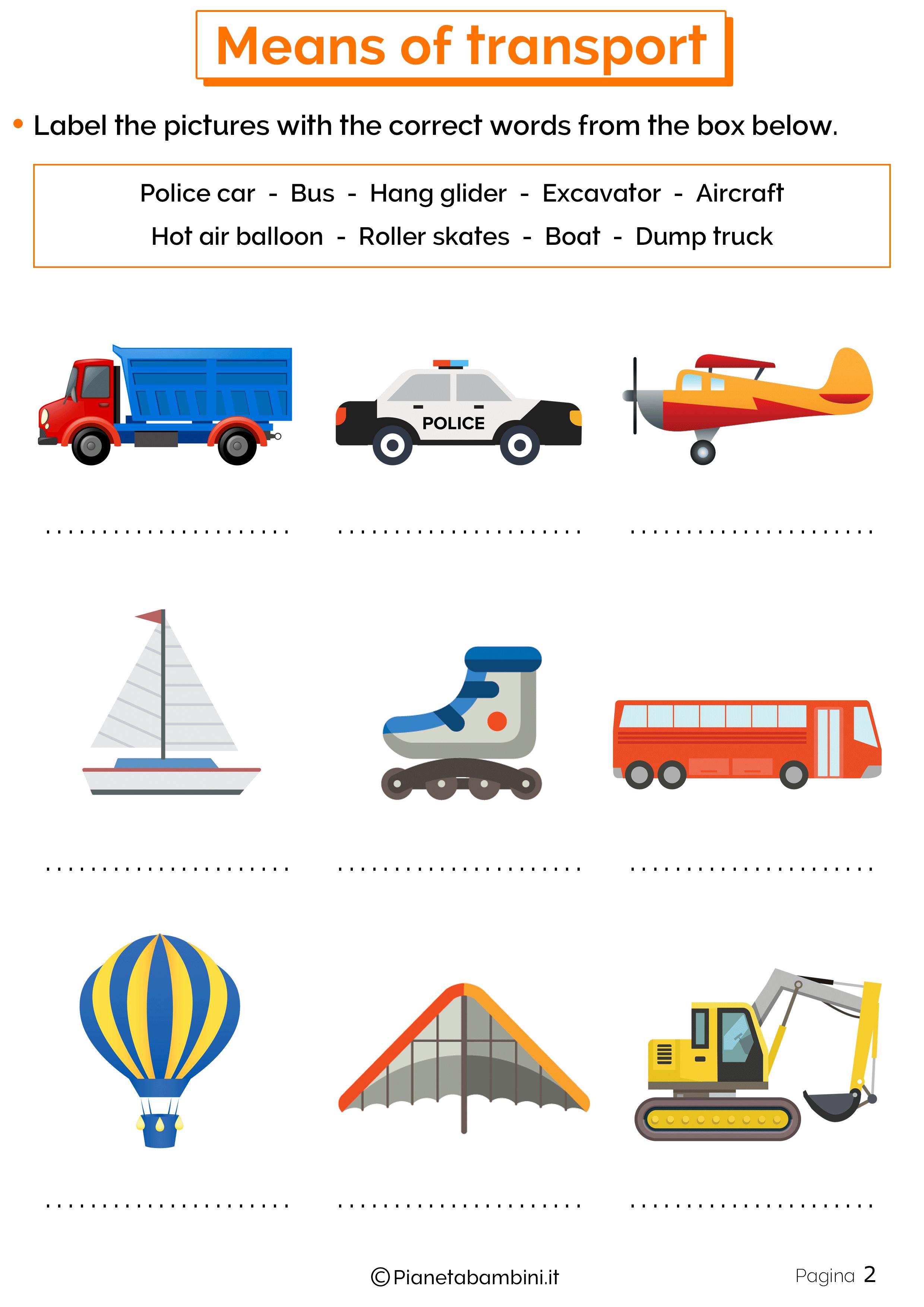 Esercizi sui mezzi di trasporto inglese 2