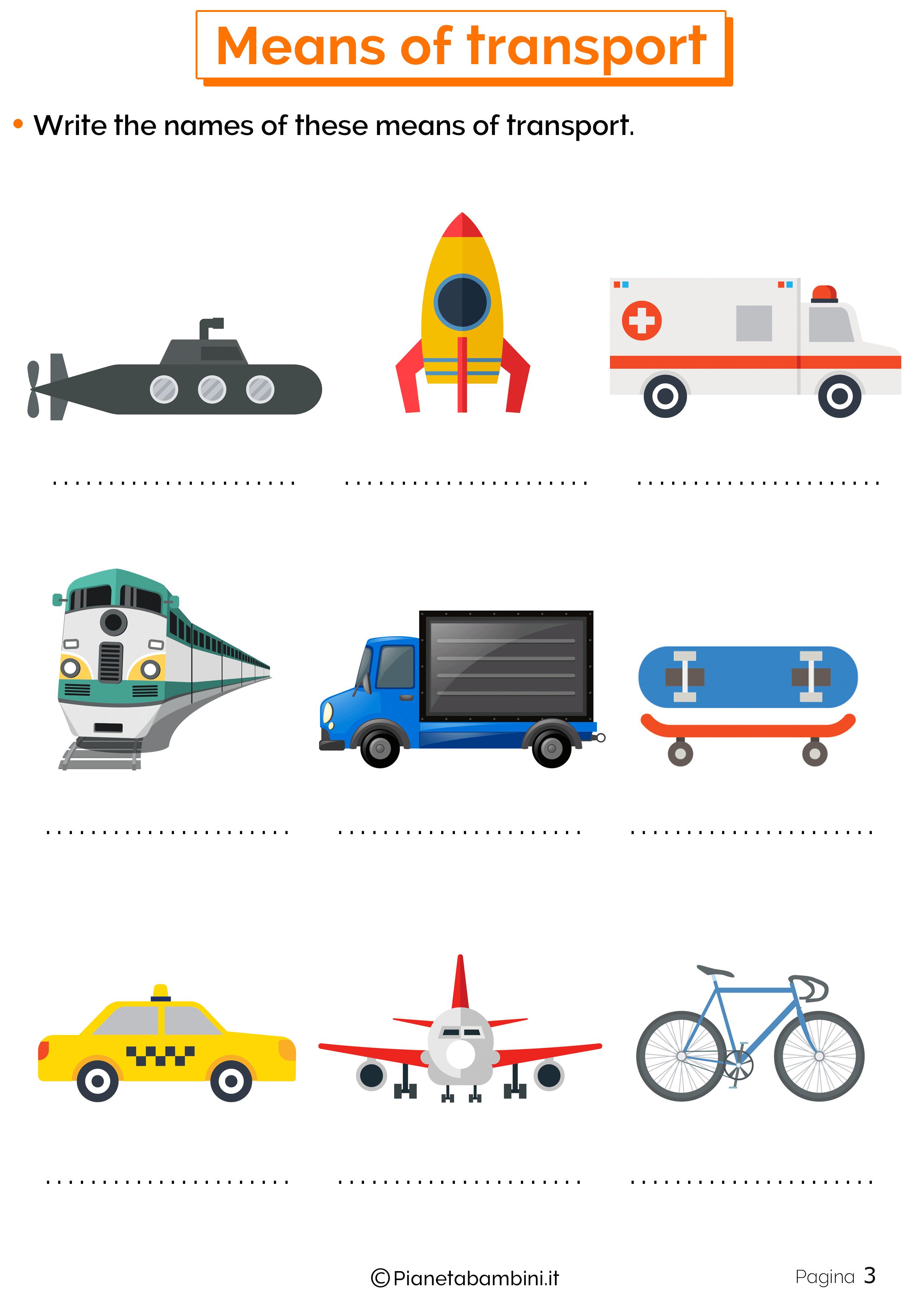 Esercizi sui mezzi di trasporto inglese 3