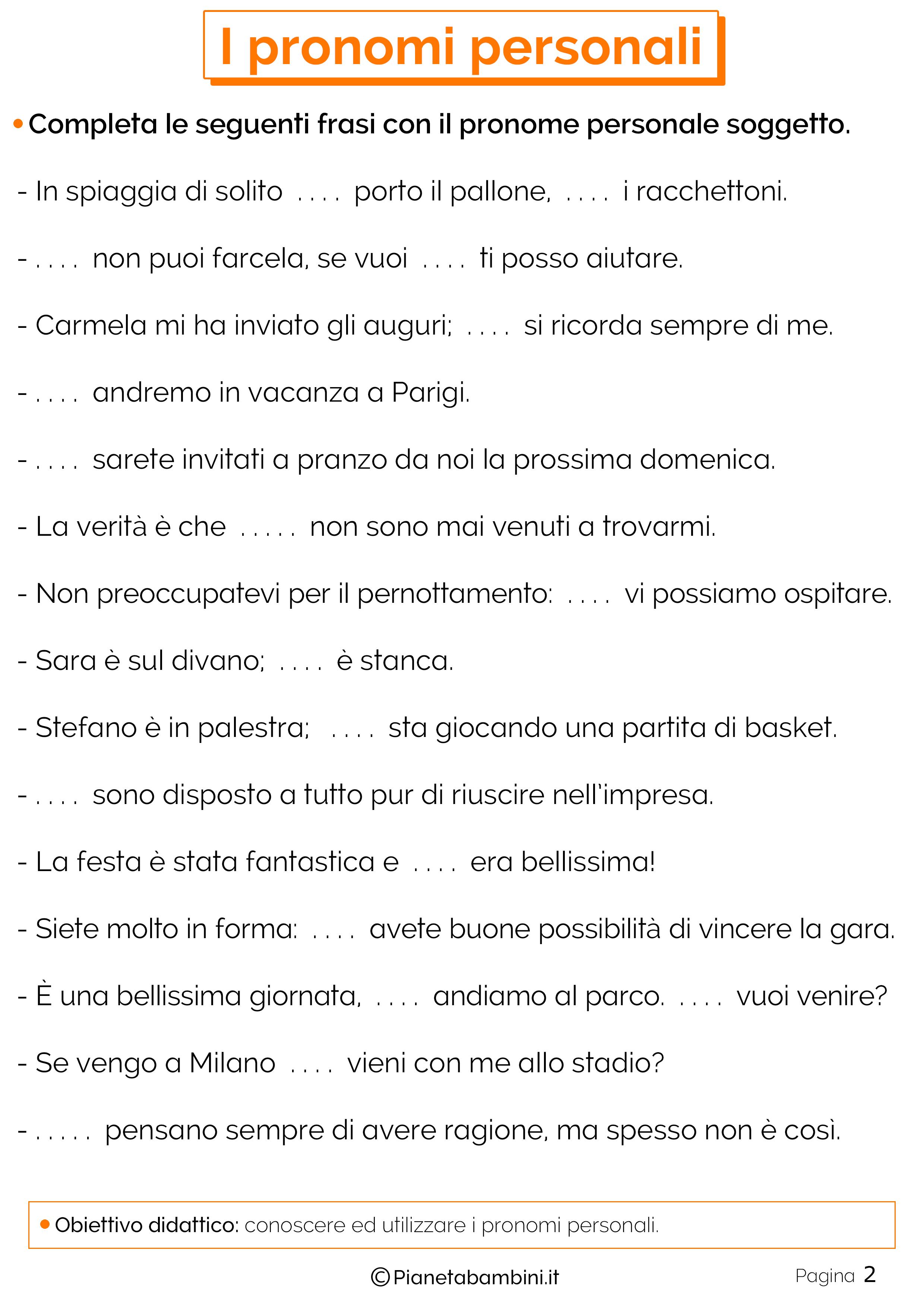 Esercizi sui pronomi personali 2