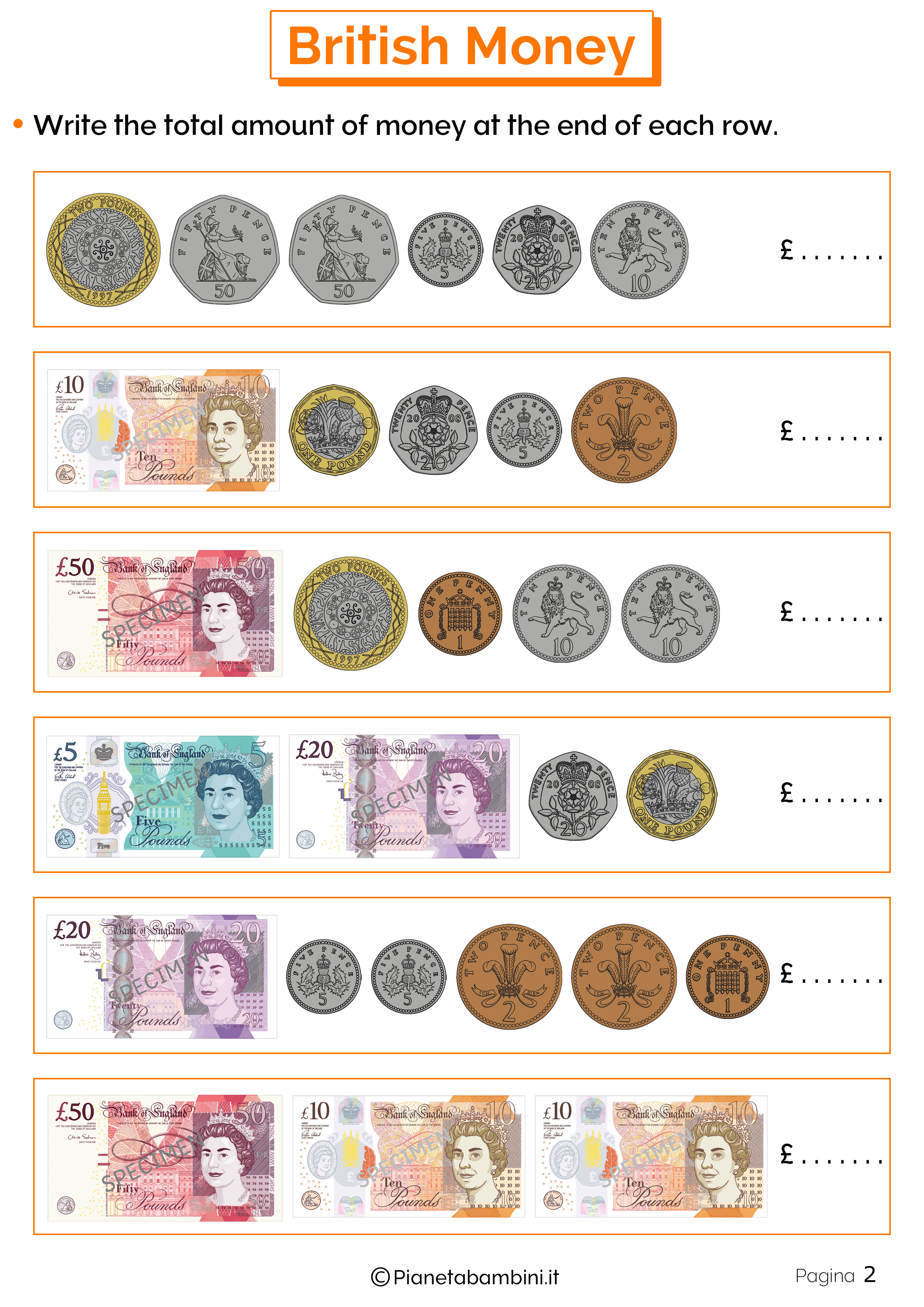 Esercizi sul sistema monetario inglese 2