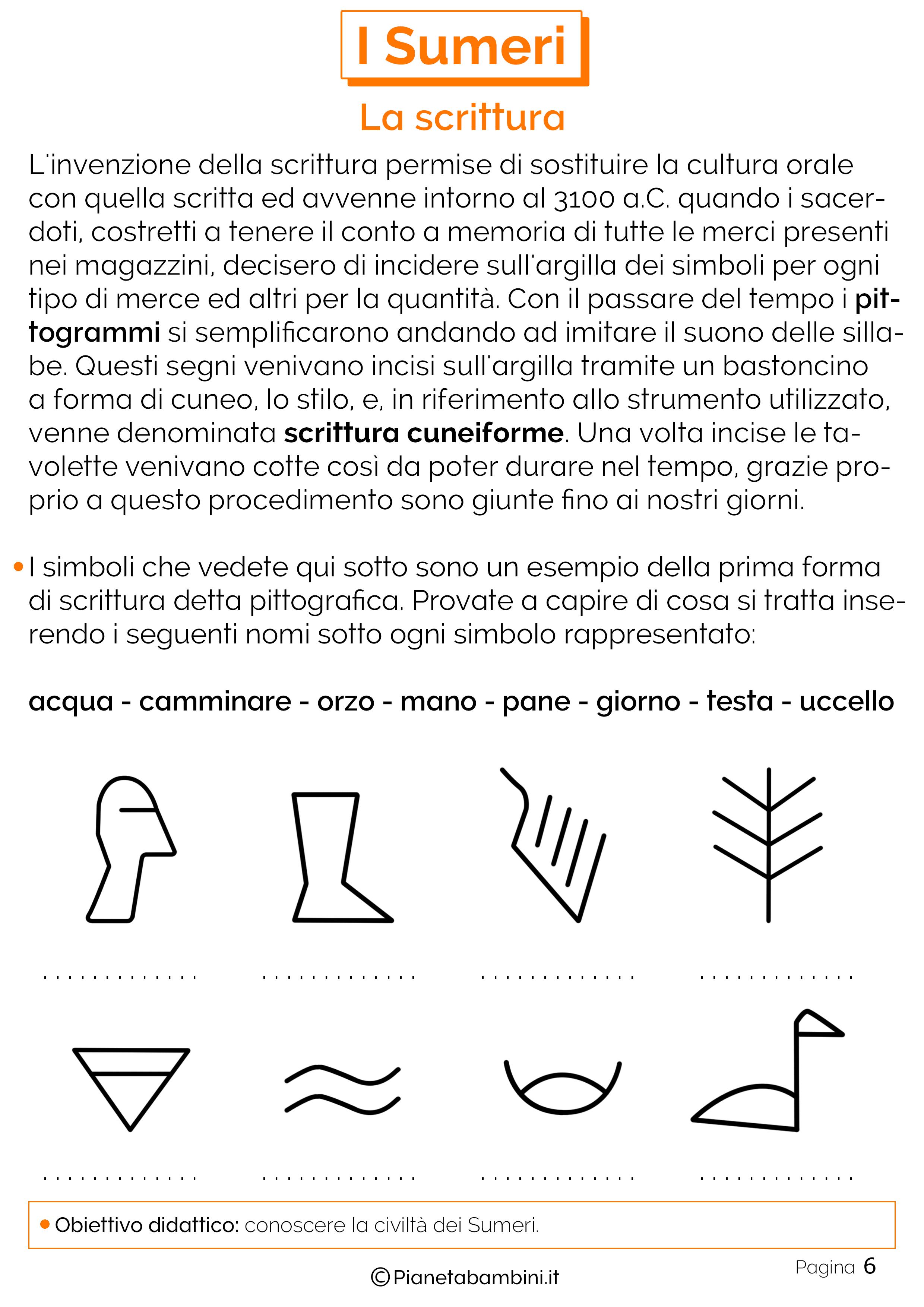 Schede didattiche sulla scrittura dei sumeri