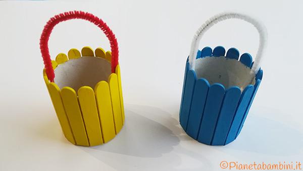 Applicazione dello scovolino ai cestini pasquali