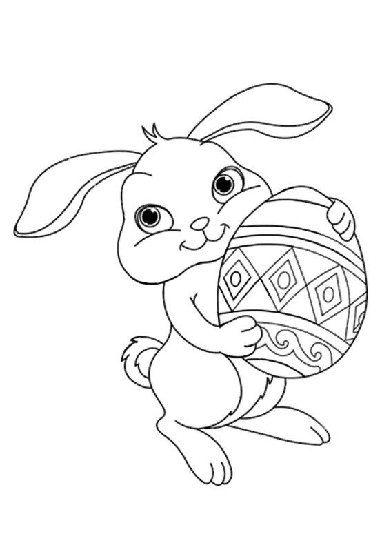 Disegni di coniglietti Pasquali da colorare 05