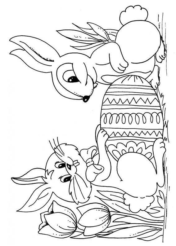 Disegni di coniglietti Pasquali da colorare 07
