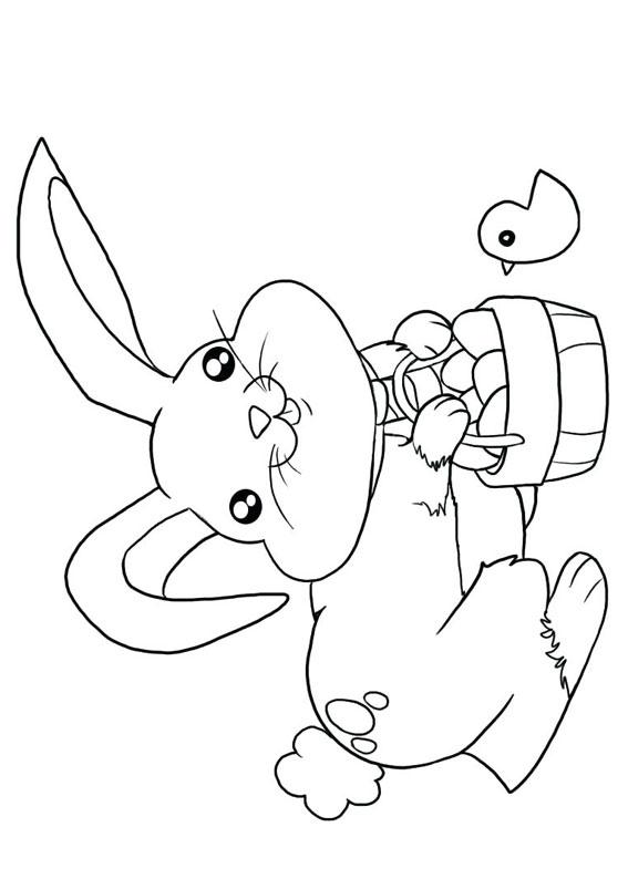 Disegni di coniglietti Pasquali da colorare 08