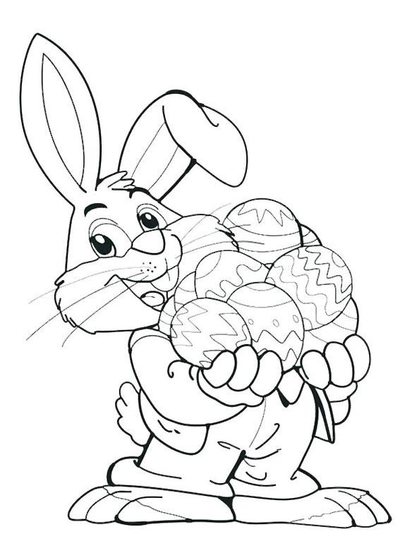 Disegni di coniglietti Pasquali da colorare 09