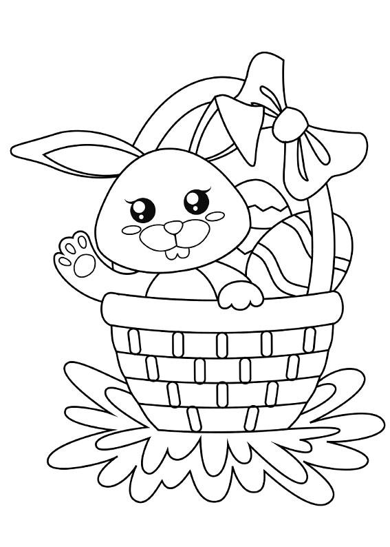 Disegni di coniglietti Pasquali da colorare 14