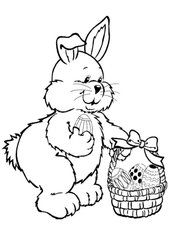 Disegni di coniglietti Pasquali da colorare 15