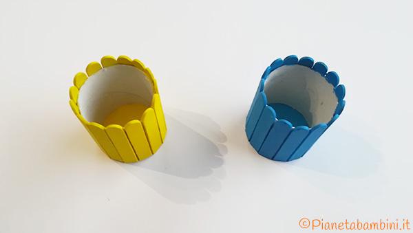 Creazione dei cestini pasquali con rotolo e bastoncini