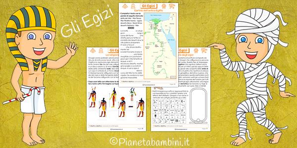 Schede didattiche con esercizi sugli Egizi da stampare gratis