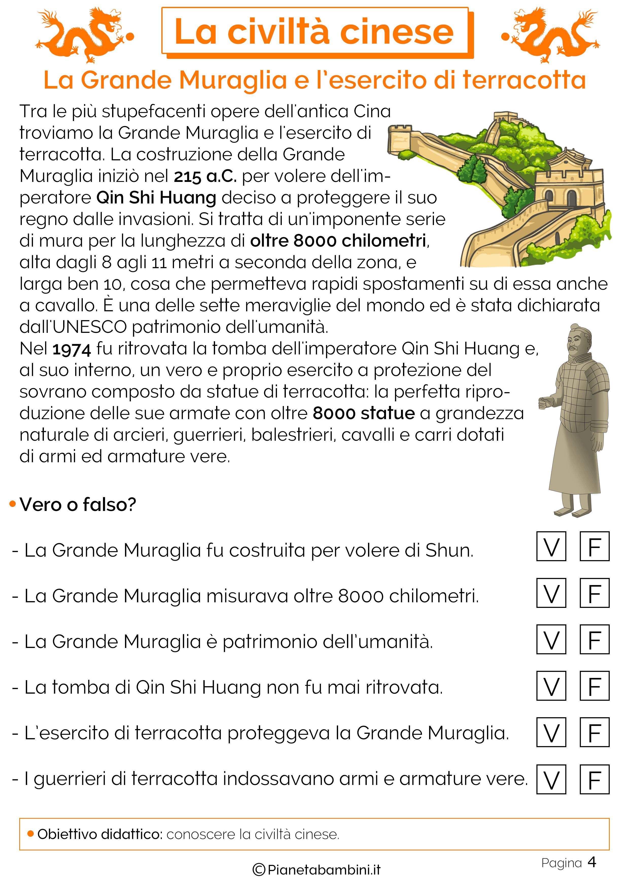 La grande muraglia cinese e l'esercito di terracotta