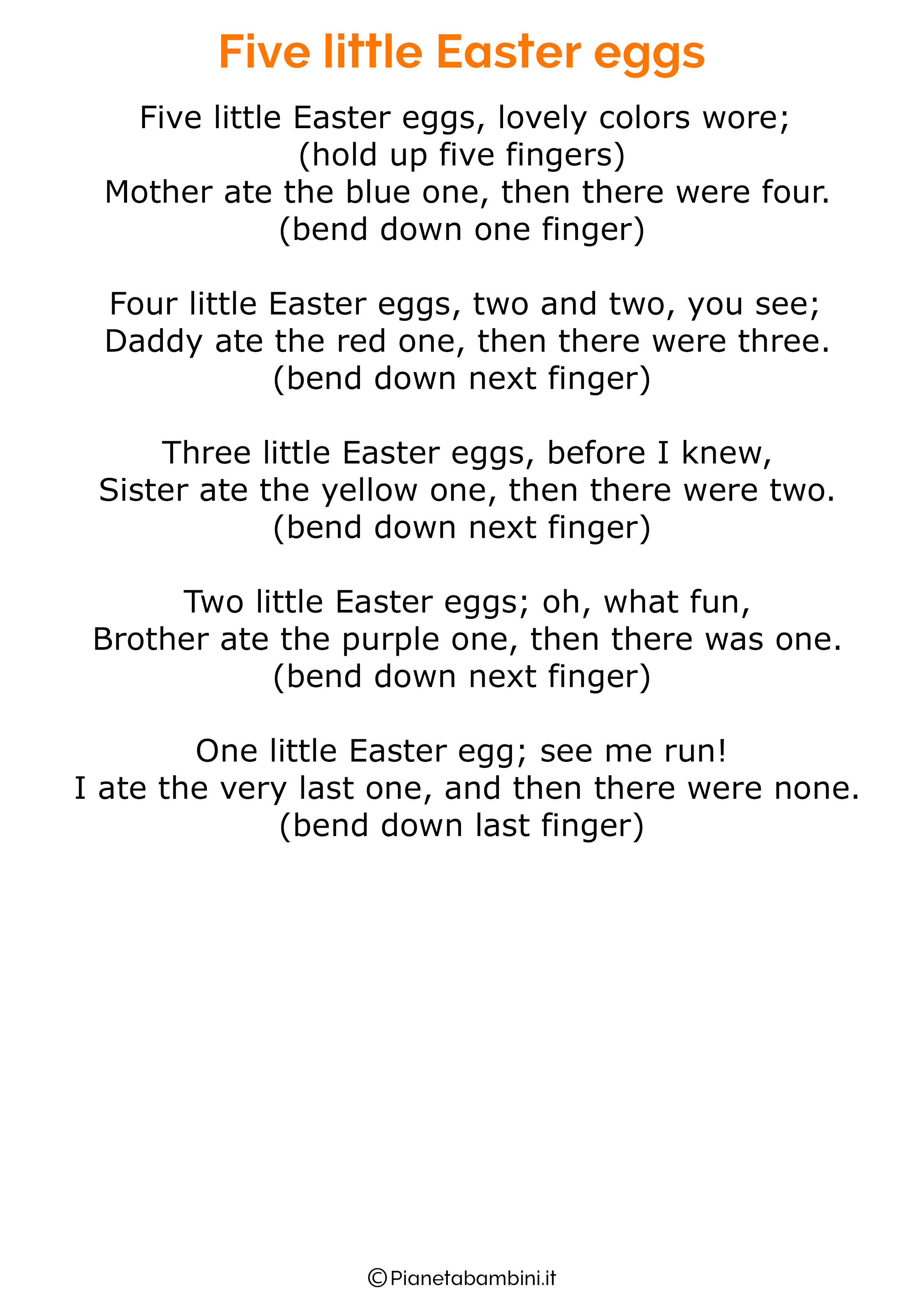 Poesie di Pasqua in inglese per bambini 01