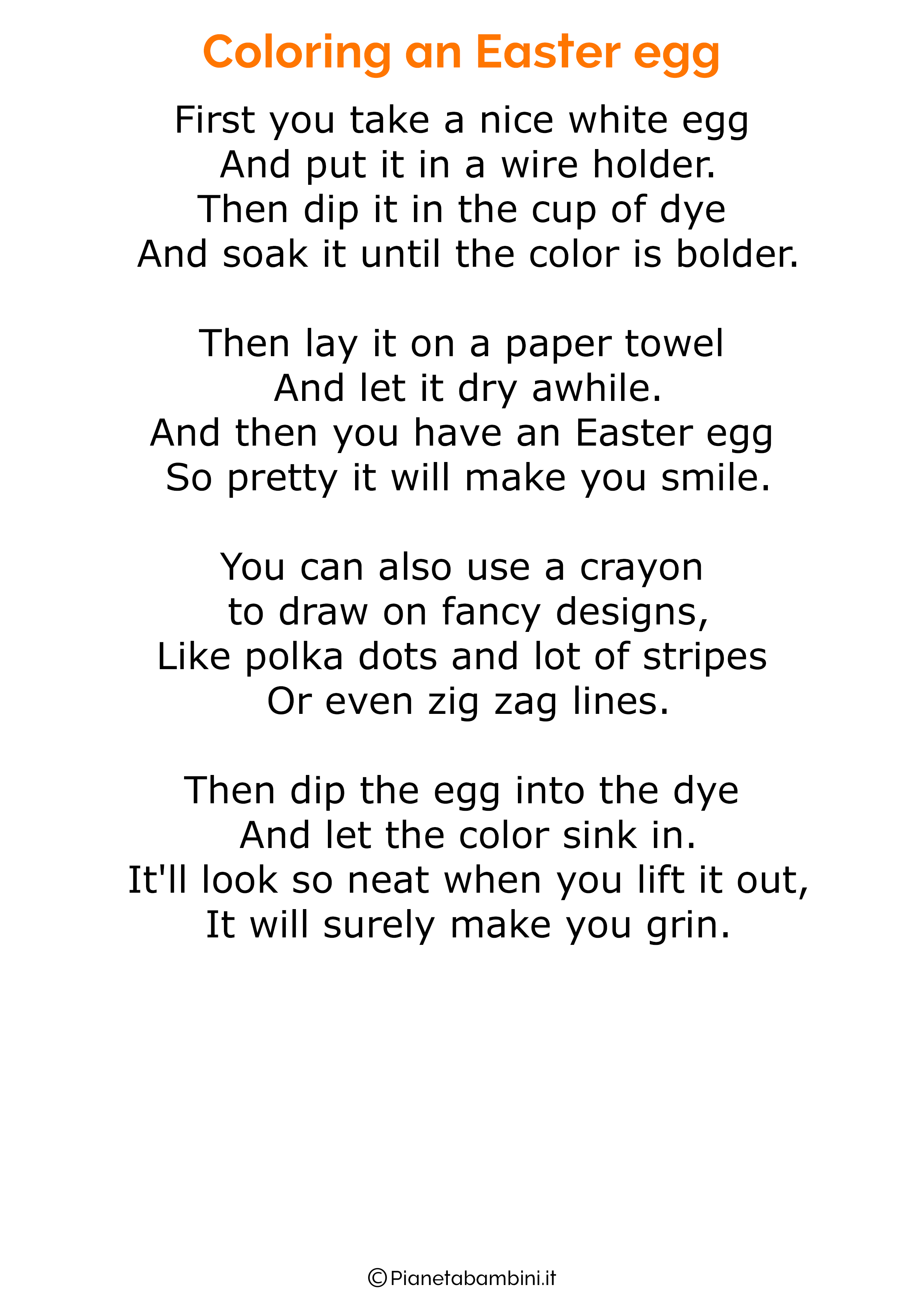 Poesie di Pasqua in inglese per bambini 02