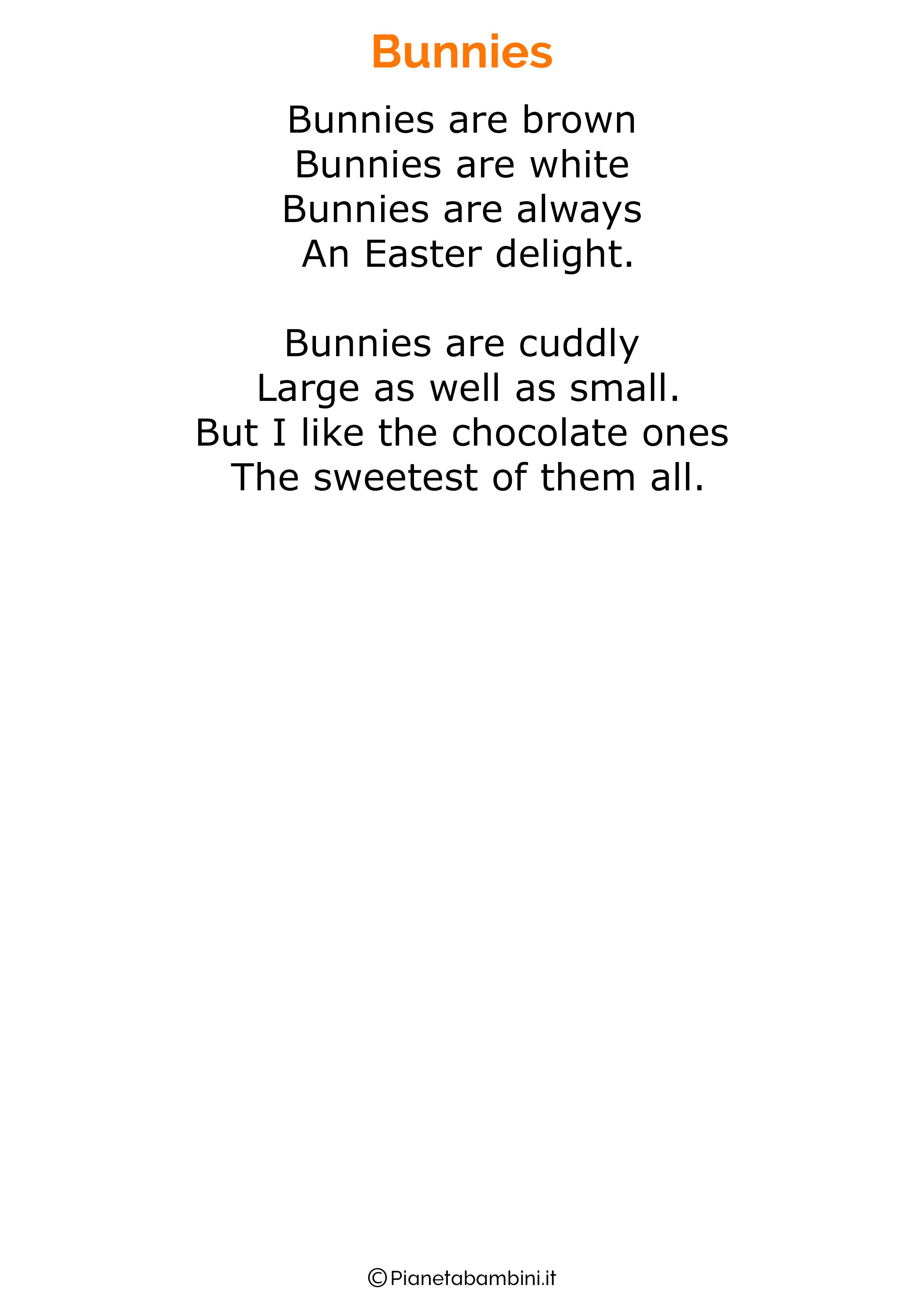 Poesie di Pasqua in inglese per bambini 05