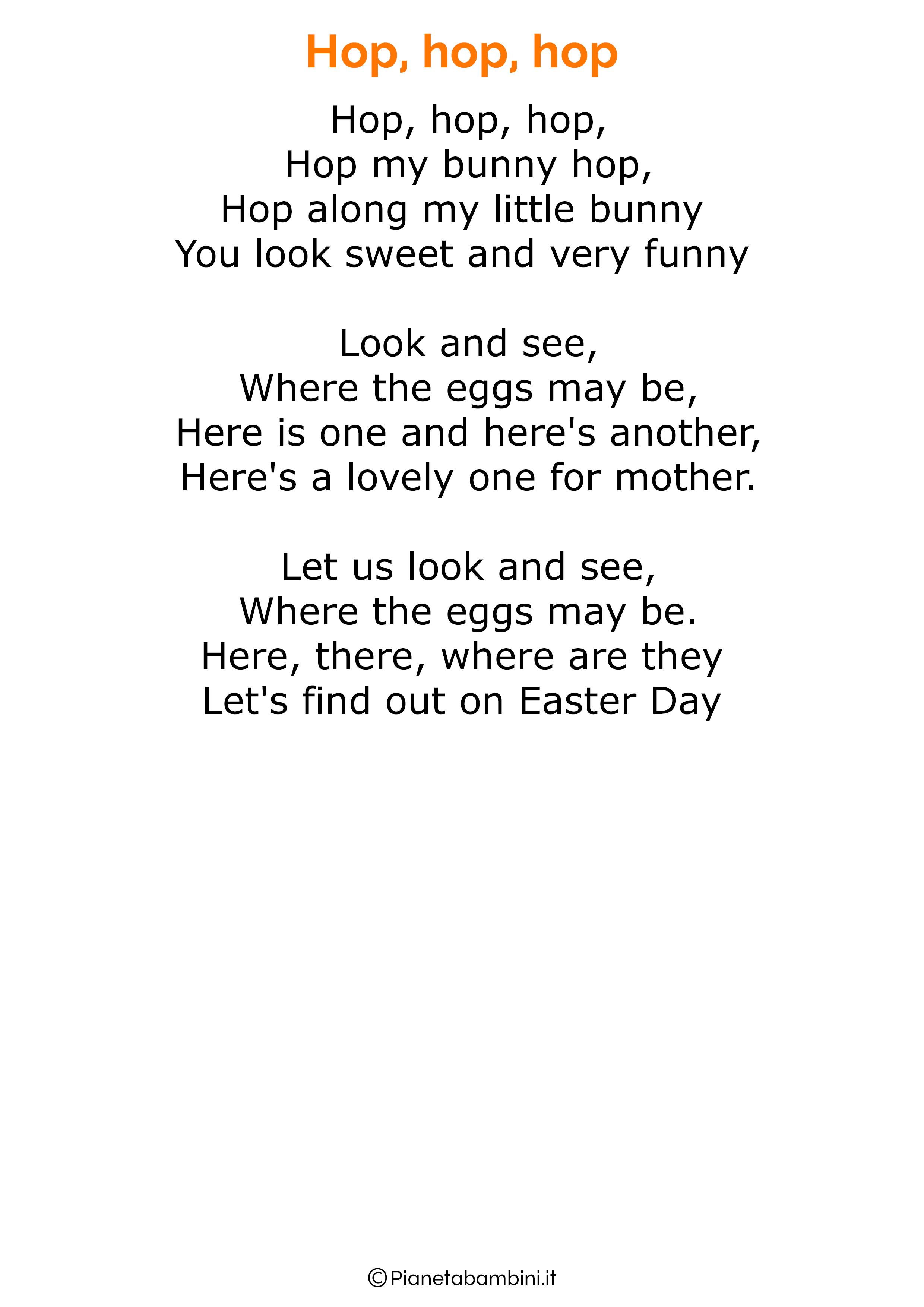 Poesie di Pasqua in inglese per bambini 06