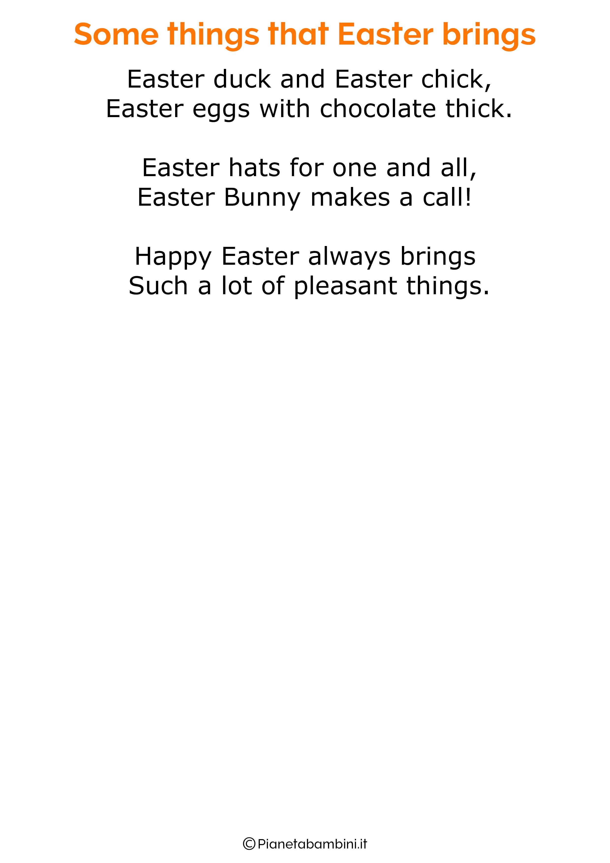 Poesie di Pasqua in inglese per bambini 08