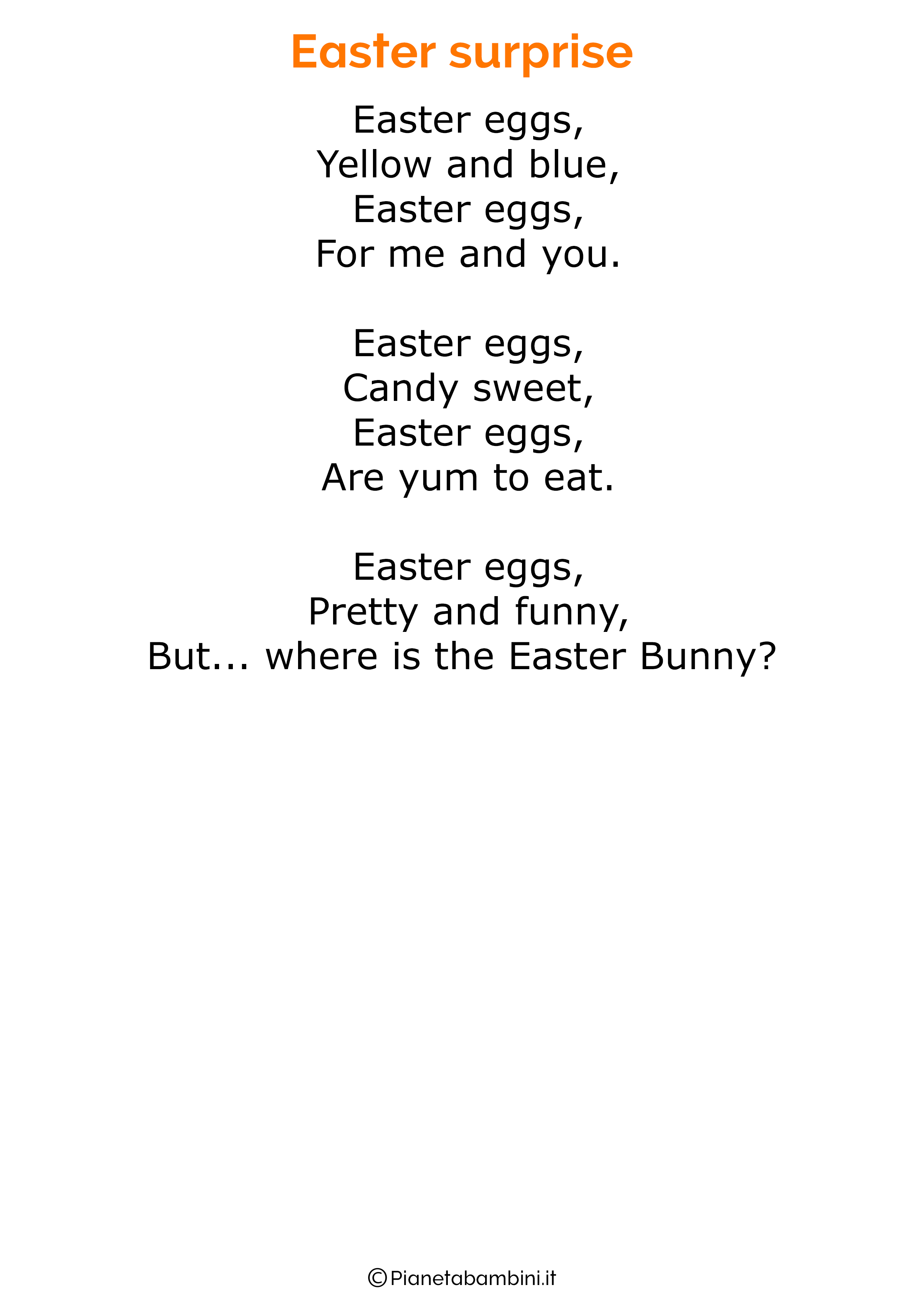 Poesie di Pasqua in inglese per bambini 10