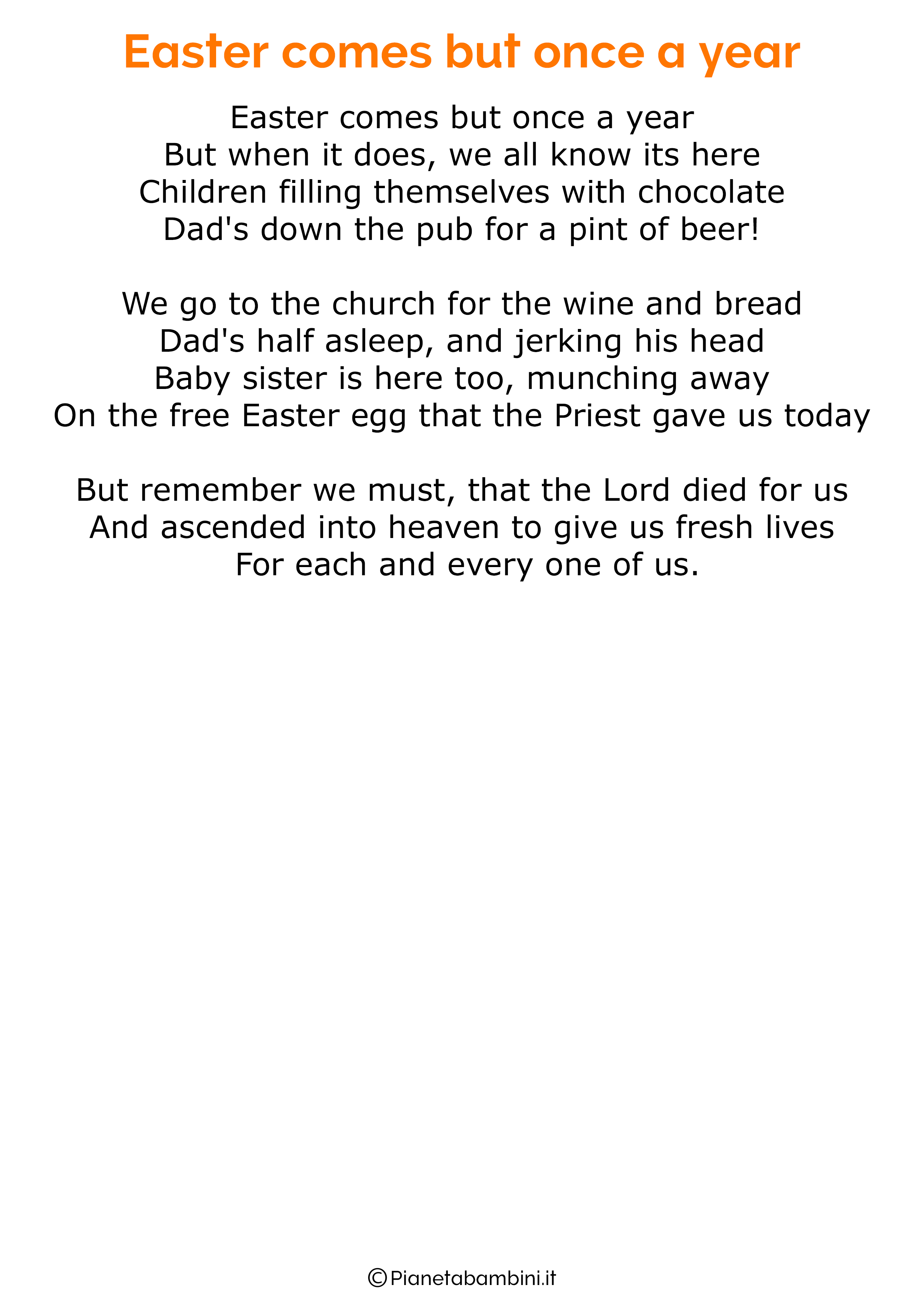 Poesie di Pasqua in inglese per bambini 15